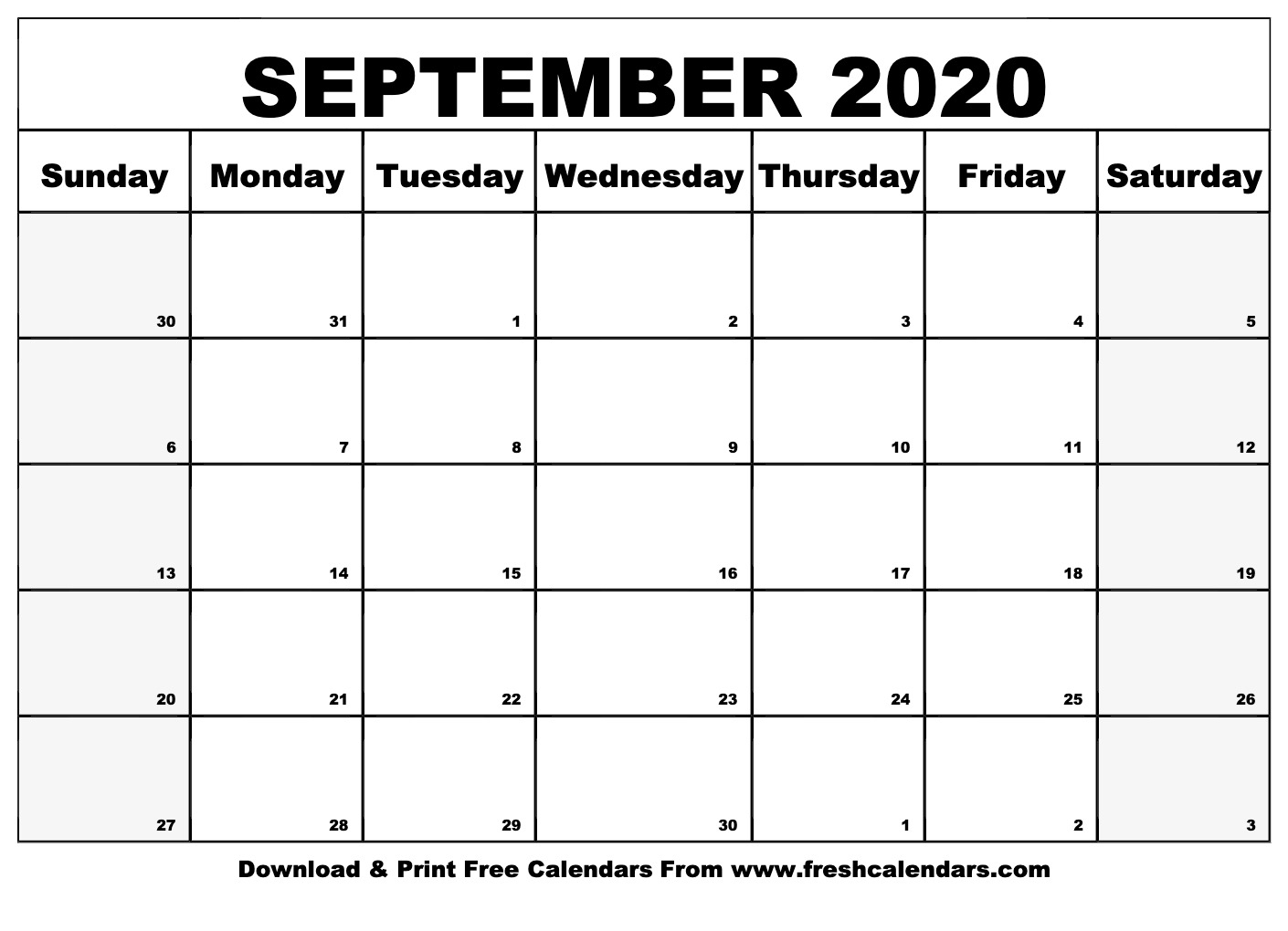 Free Printable September 2020 Calendar intended for Free Printable Monthly Calendar September 2020