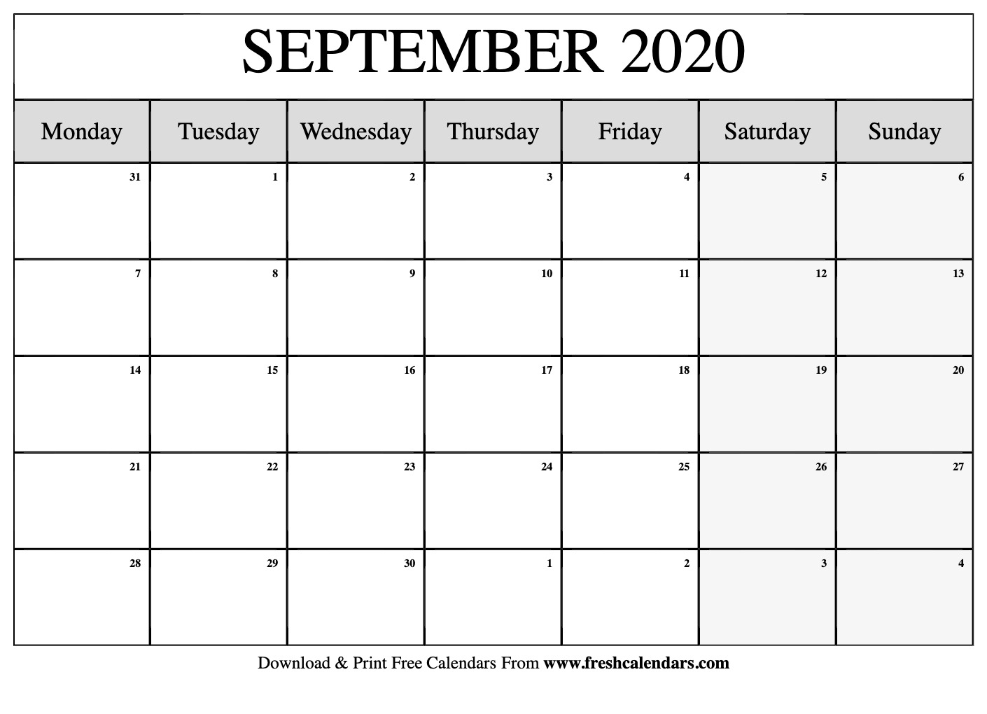 Free Printable September 2020 Calendar regarding Free Printable Monthly Calendar September 2020