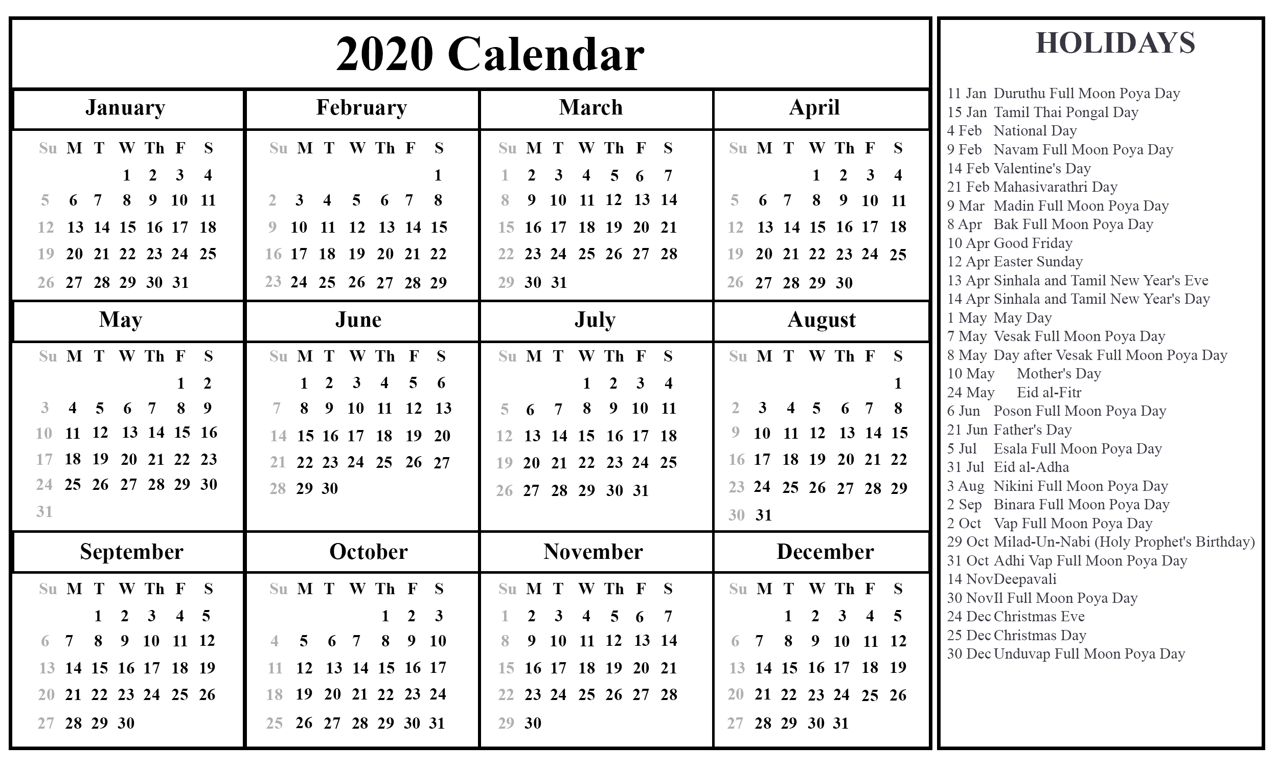Free Printable Sri Lanka Calendar 2020 [Pdf, Excel & Word within 2020 Sri Lanka Calendar