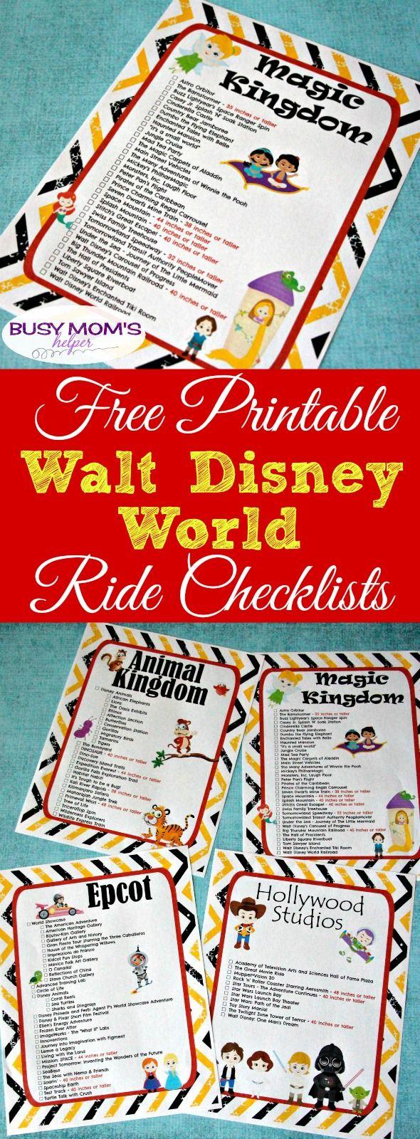 Free Printable Walt Disney World Ride Checklists | Walt with Printable List Of Rides At Disney World 2020 Checklist