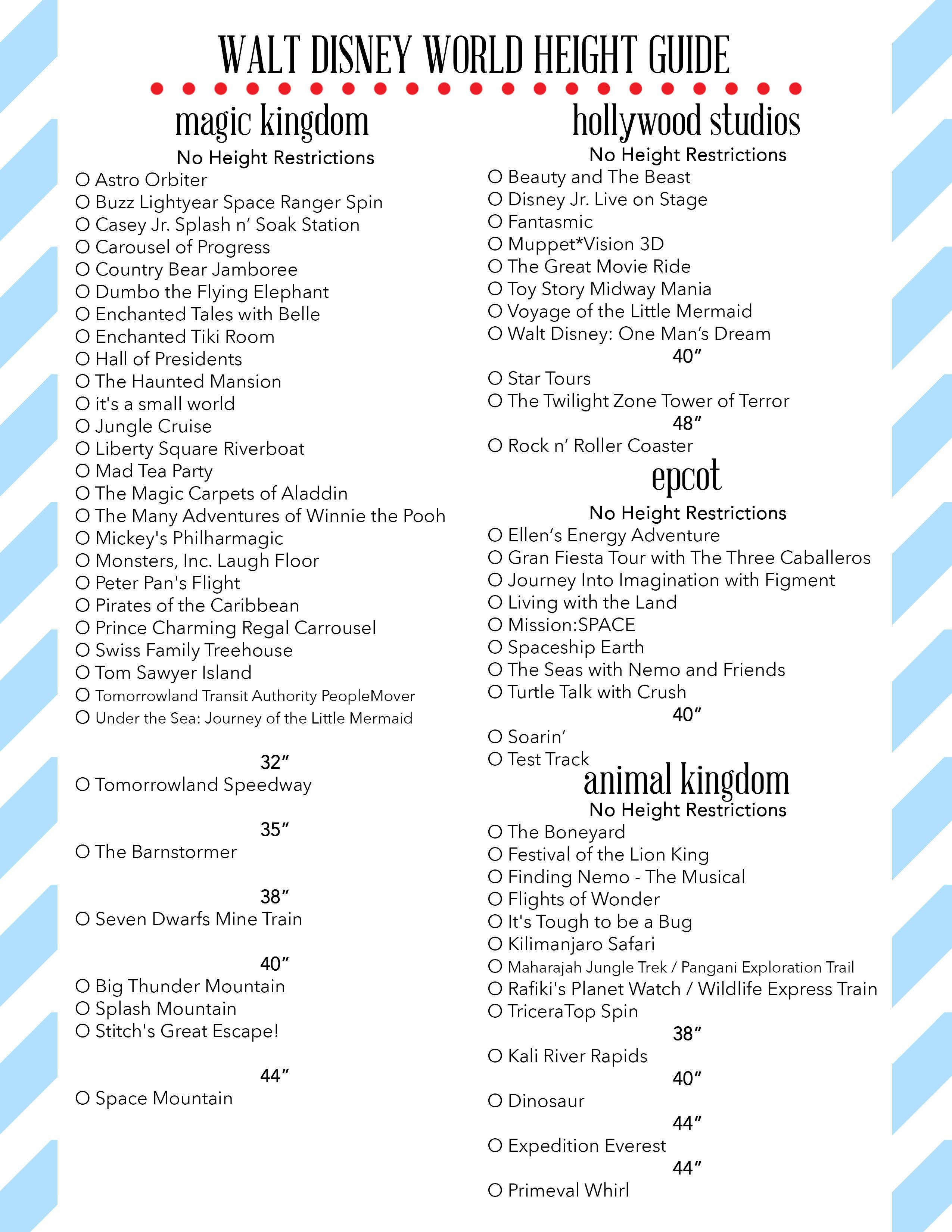 Free Printables | Disney World Rides, Disney World regarding Printable List Of Rides At Disney World 2020 Checklist