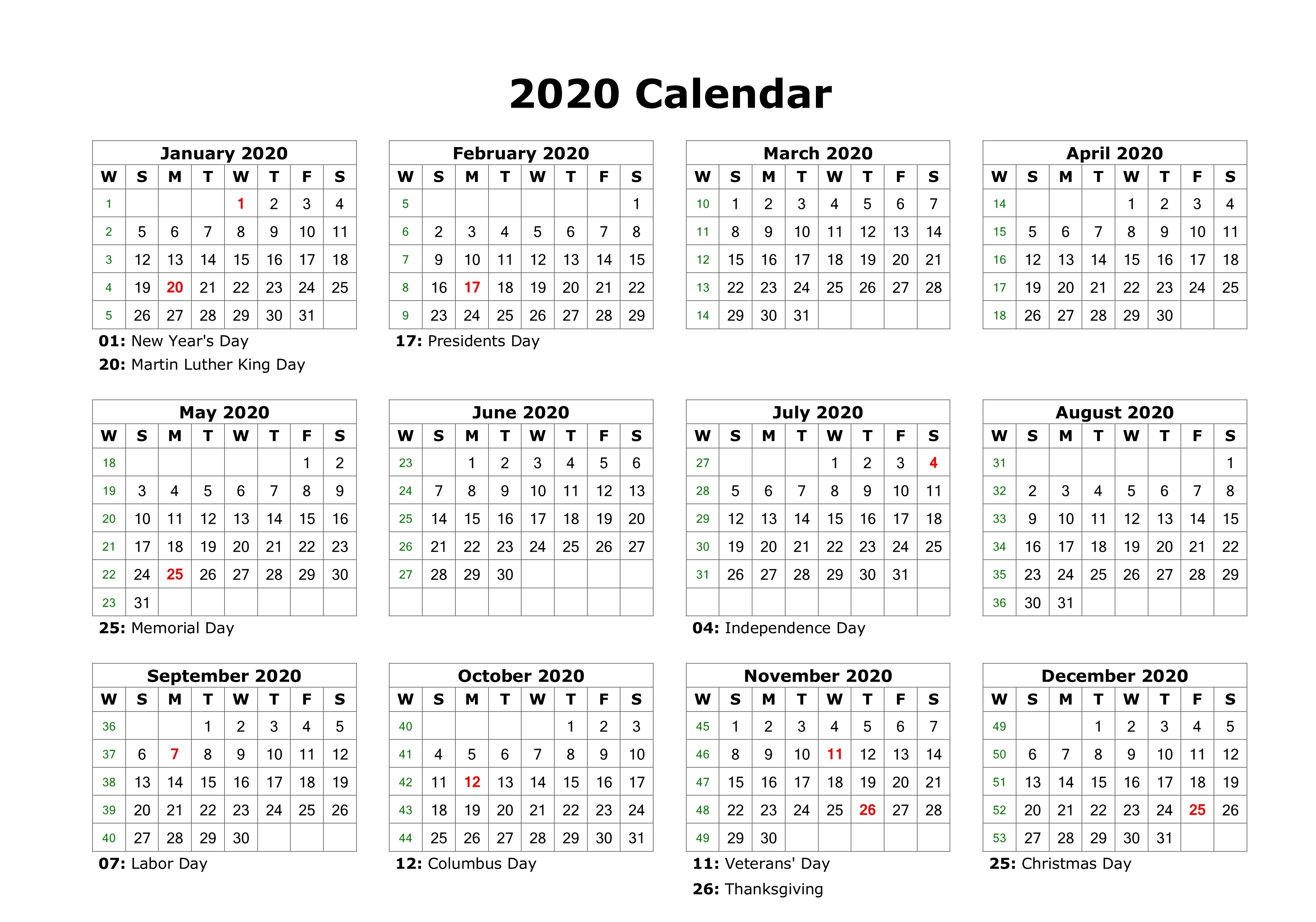 Free Yearly 12 Month Calendar One Page Template Printable inside 2020 Yearly Calendar With Holidays