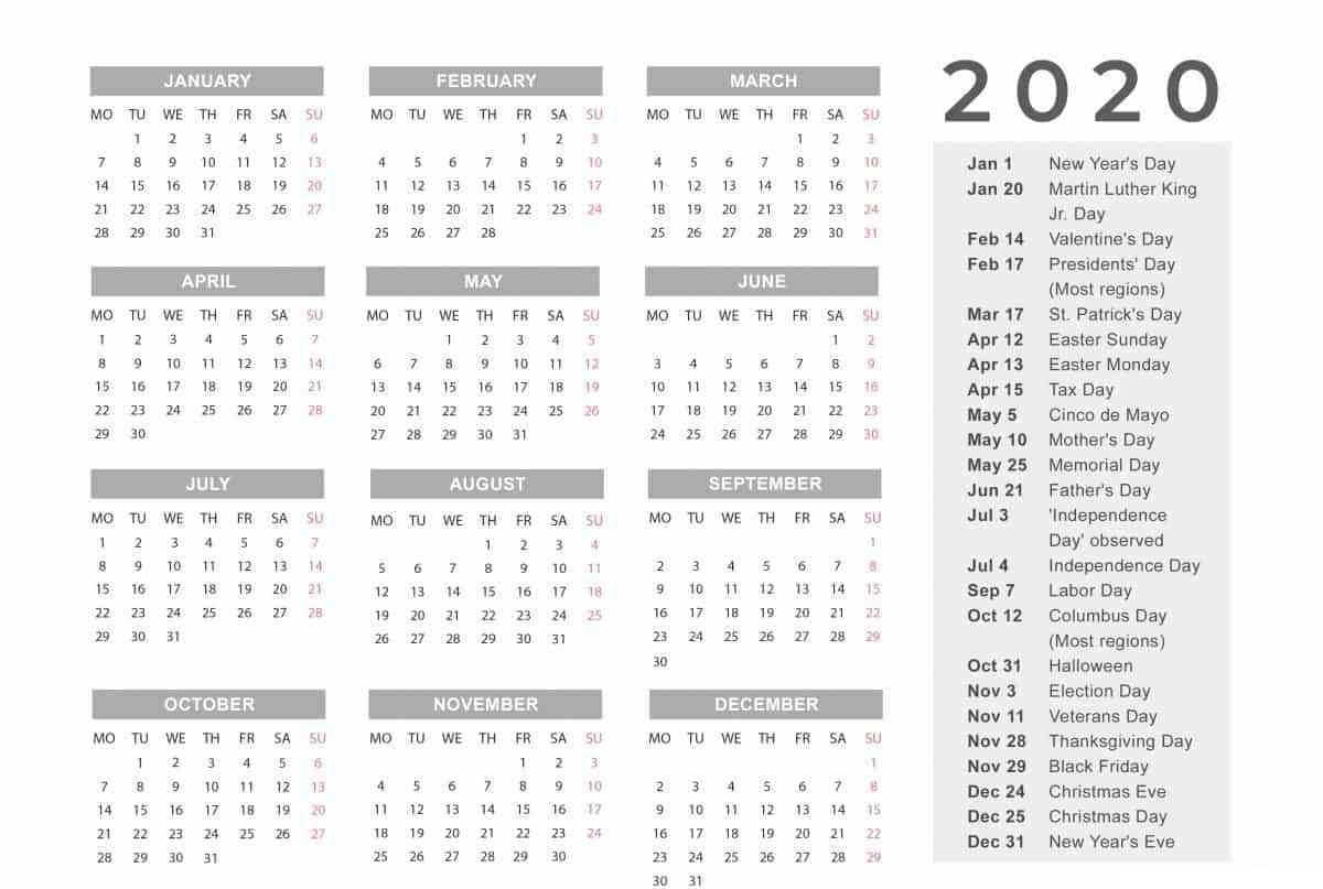 Free Yearly 12 Month Calendar One Page Template Printable intended for 2020 Calendar With Holidays