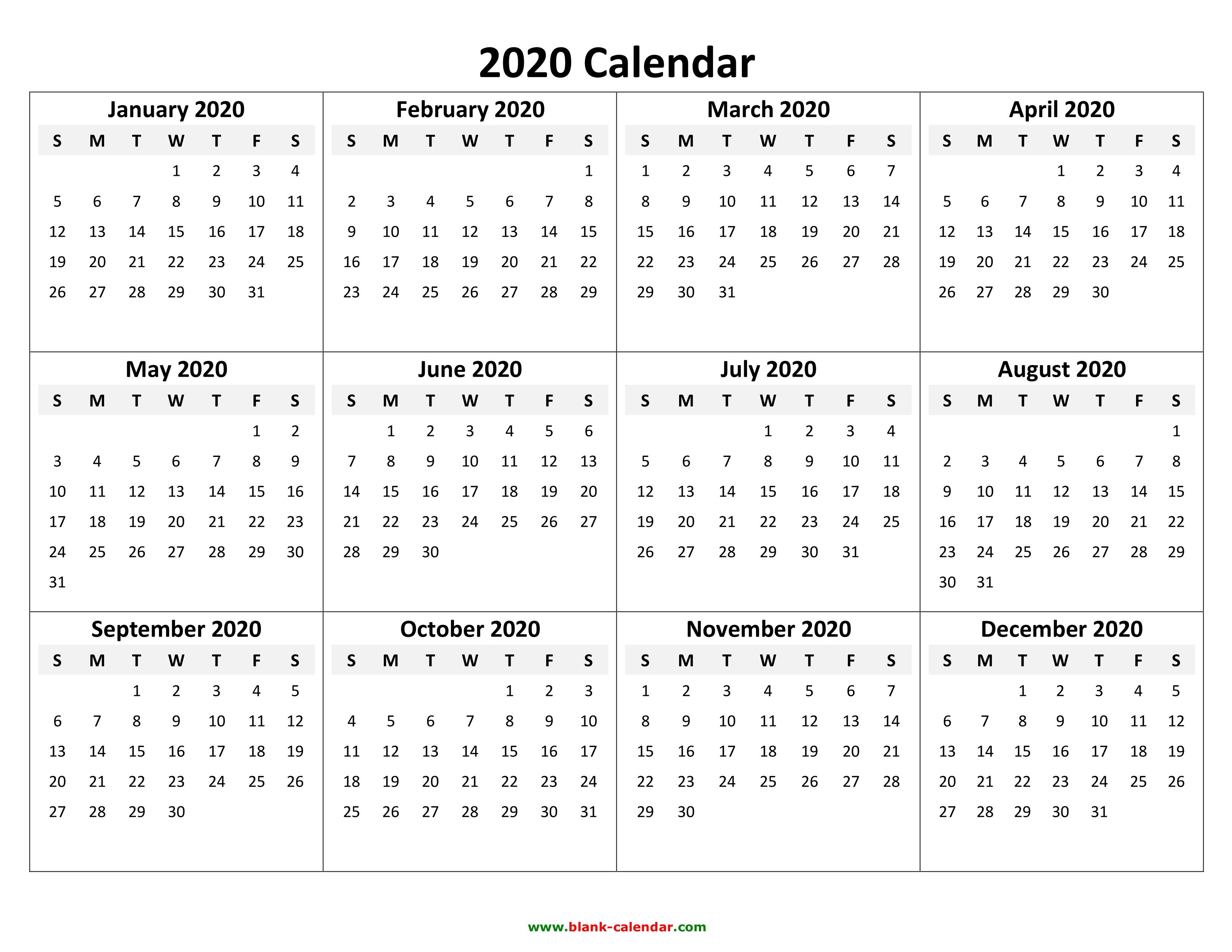 Free Yearly Calendar 2020 Printable - Wpa.wpart.co throughout Vertex Calendars 2020 Printable