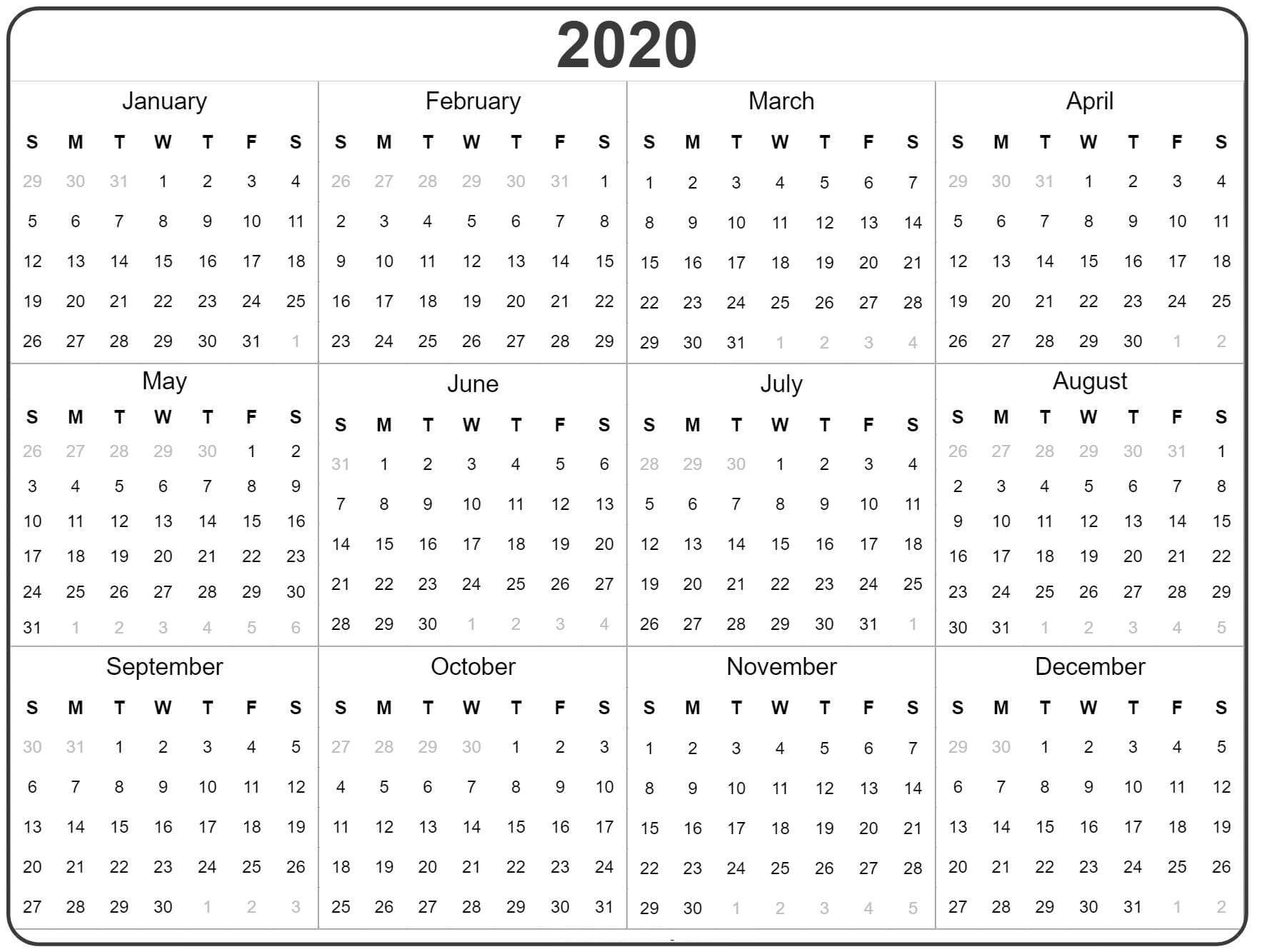 Free Yearly Calendar 2020 With Notes - 2019 Calendars For regarding Calendar At A Glance With Usa Holidays For 2020