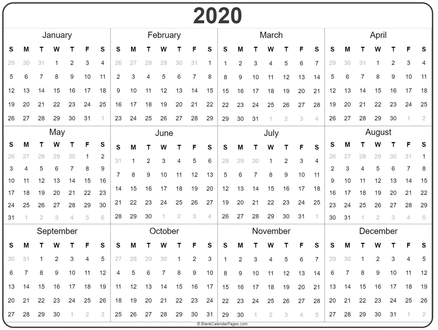 Full Year Calendar 2020 Printable - Wpa.wpart.co for Yearly Printable Calendar 2020