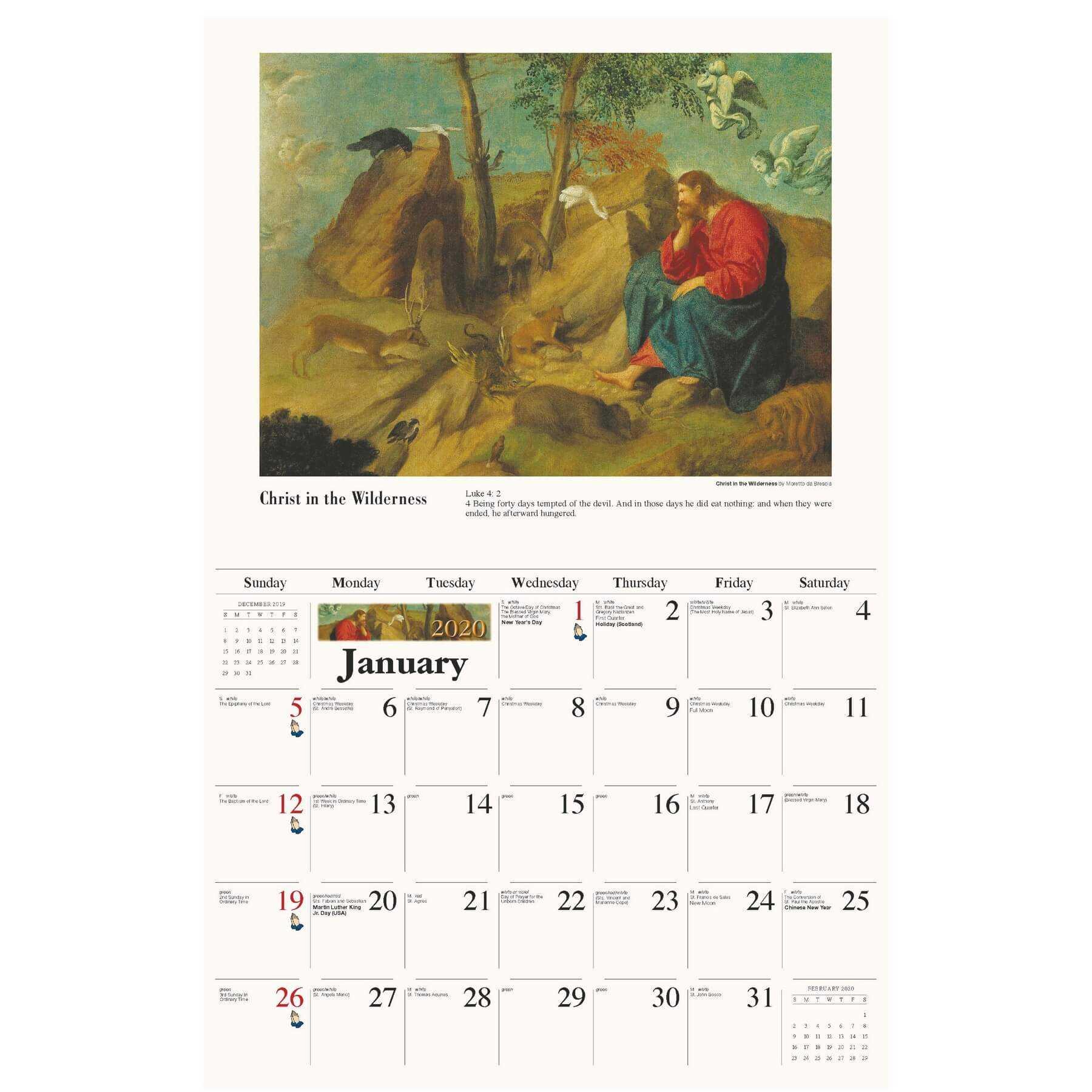 Galleria Wall Calendar 2020 Catholic Inspirations (Eng) for Yrdsb Calendar 2020