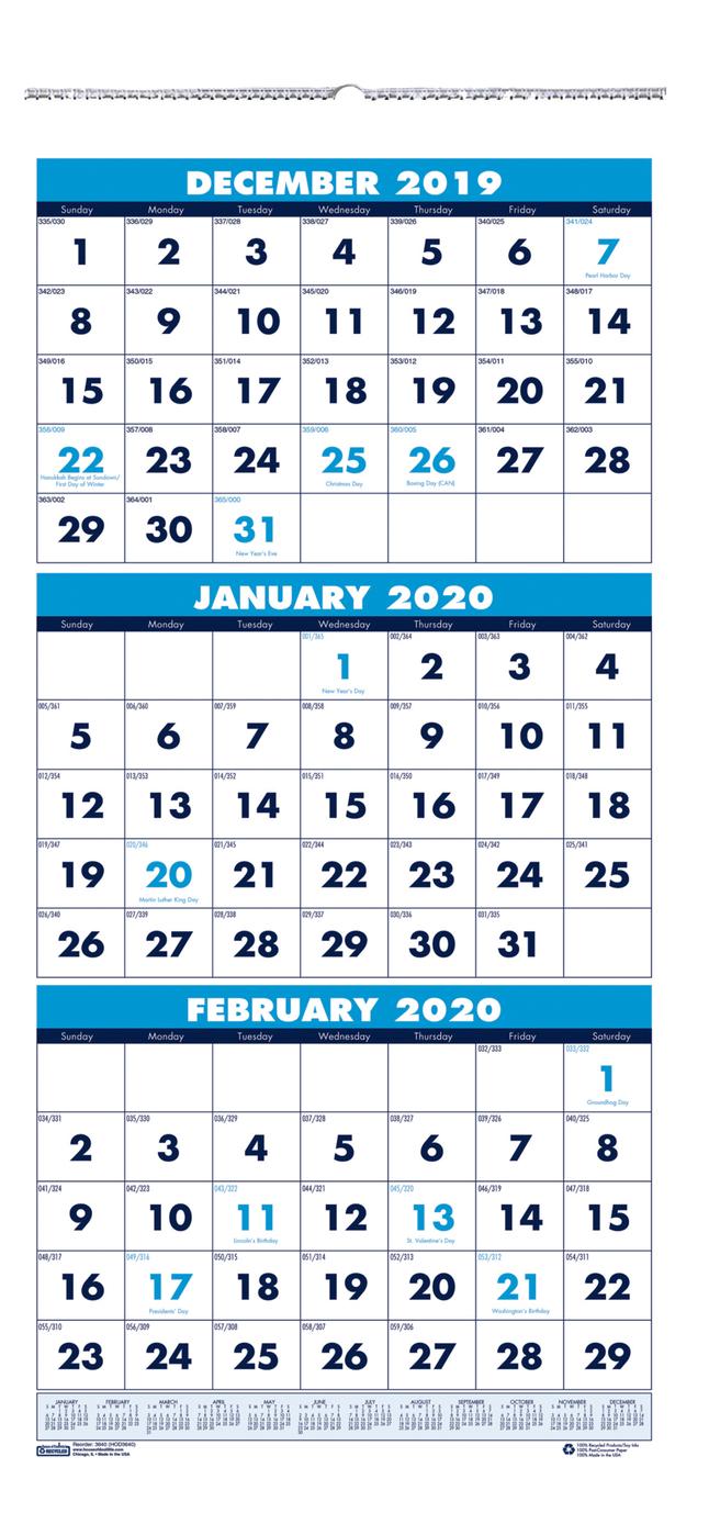 House Of Doolittle 3 Month Vertical Wall Calendar, 2020, 12-1/4 X 26 Inches regarding 2020 Calendar Vertical