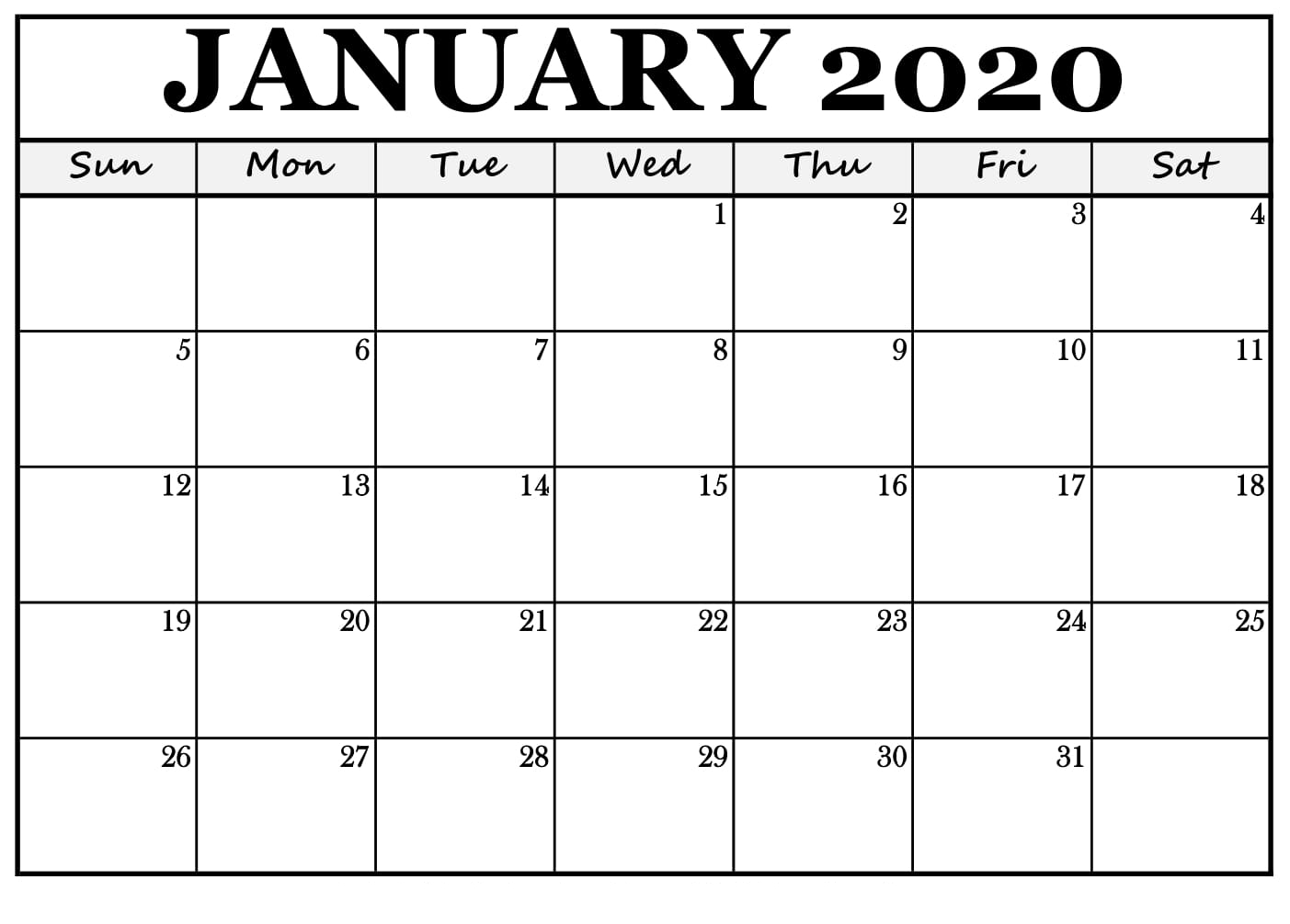 Images For January 2020 Calendar Printable | Printable Calendar for January 2020 Calendar