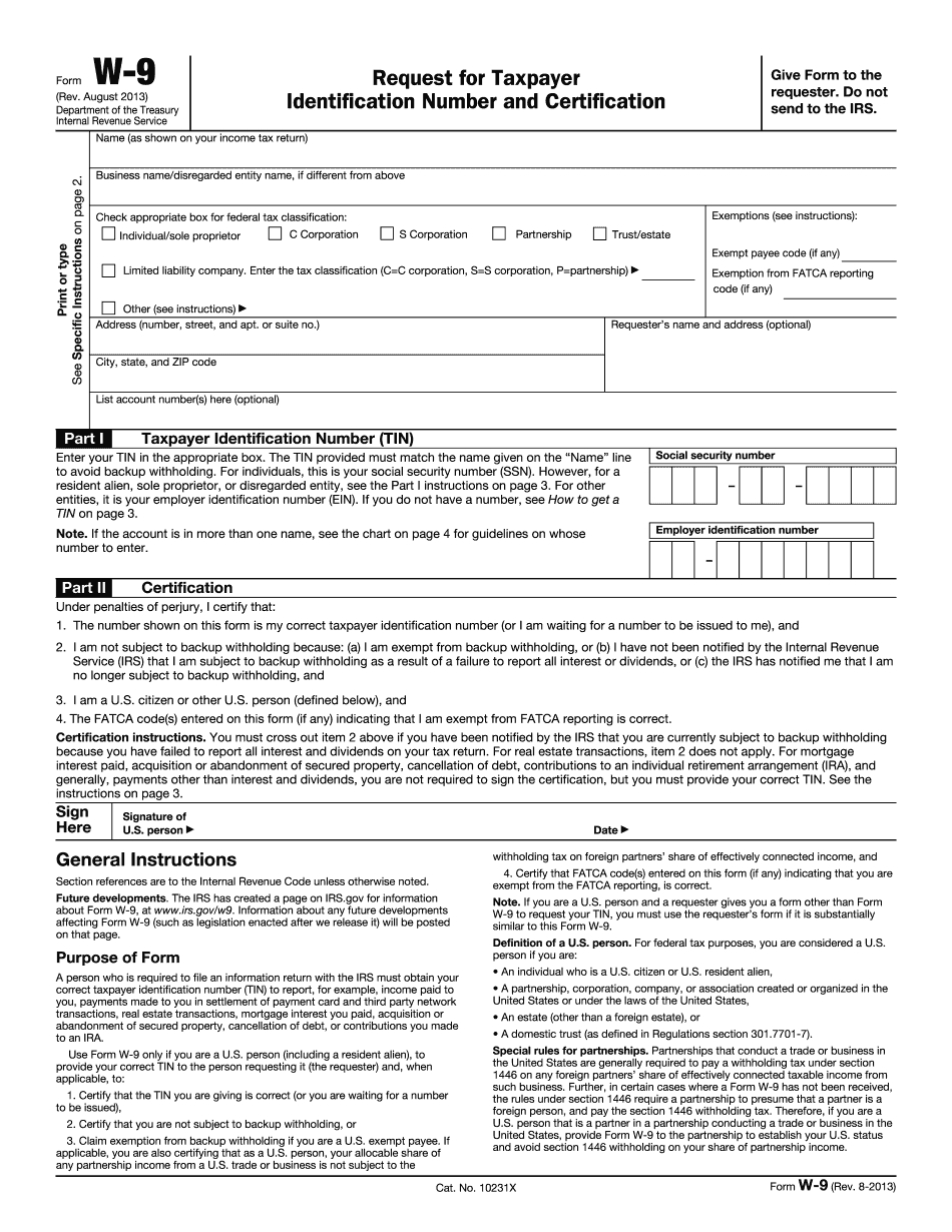 Irs W-9 Form 2013 - Download Samples In Pdf in 2020 W-9 Form
