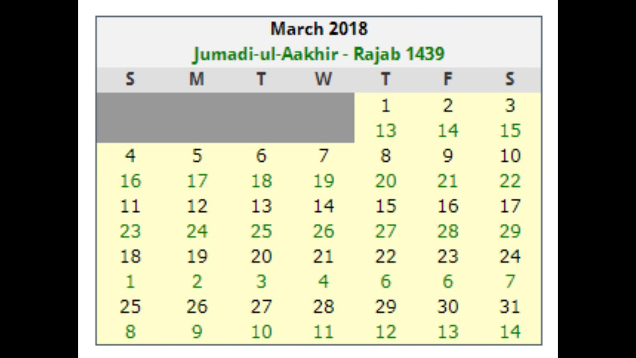 Islamic Calendar Dates 2018 March - Youtube with Hussaini Calendar 2018