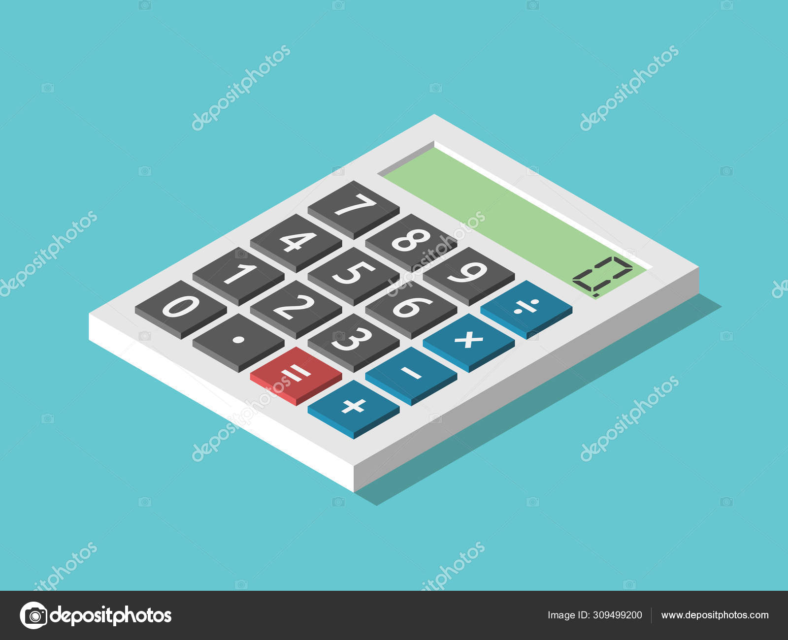 Isometric Calculator Displaying Zero — Stock Vector intended for Depo Calculator 2020