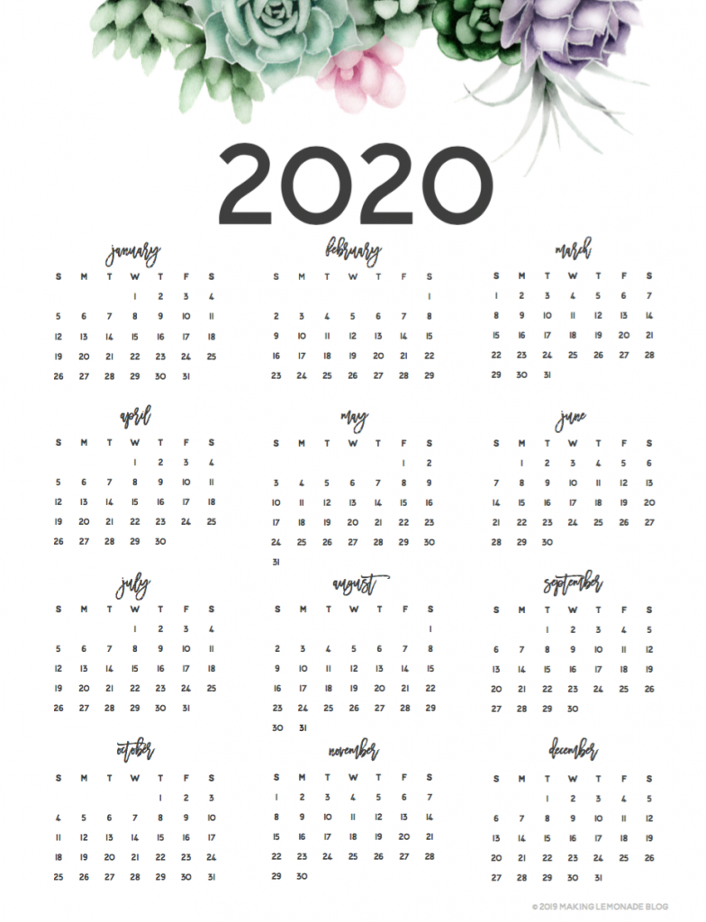 It's Here! Get Your Free 2020 Printable Planner! | Making throughout 2020 Calendar Free Printable