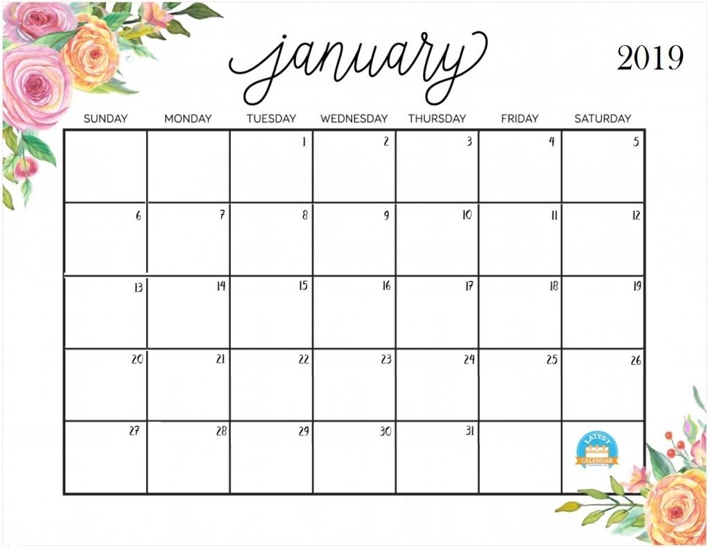 January 2019 Calendar - Free Download for Blank Calendar Pretty