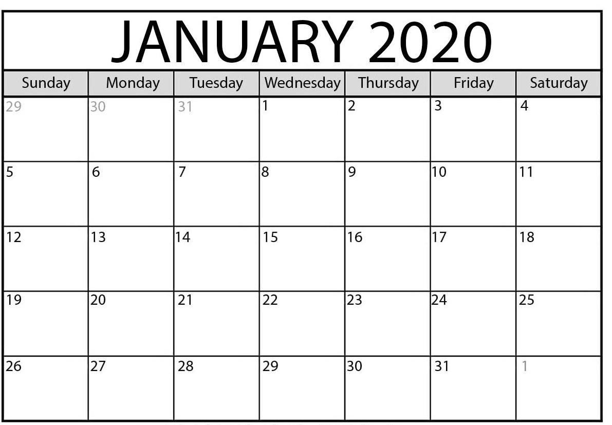 January 2020 Calendar | 2020 Yearly Calendar Template Download!! pertaining to January 2020 Calendar