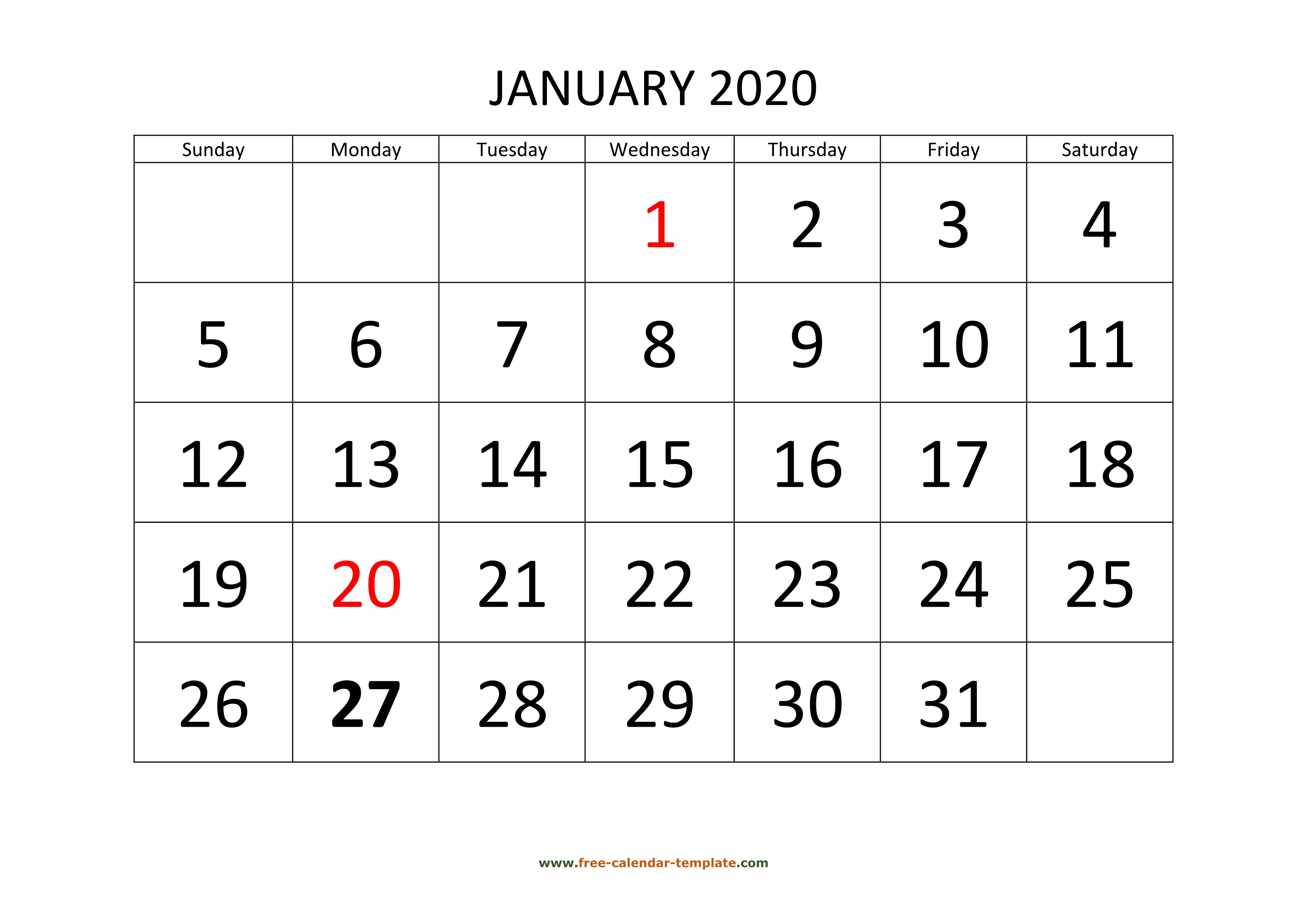 January 2020 Calendar Designed With Large Font (Horizontal throughout Free Printable 2020 Calendars Large Numbers