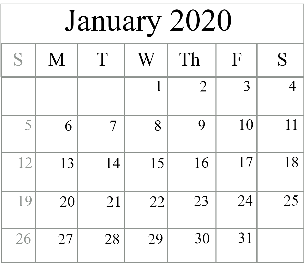 January 2020 Calendar Excel – Free Monthly Calendar regarding 2020 Monthly Fill In Calendars