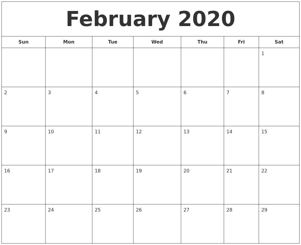 January 2020 Calendar, February 2020 Printable Calendar for 2020 Printable Calendar - Sunday Thru Saturday