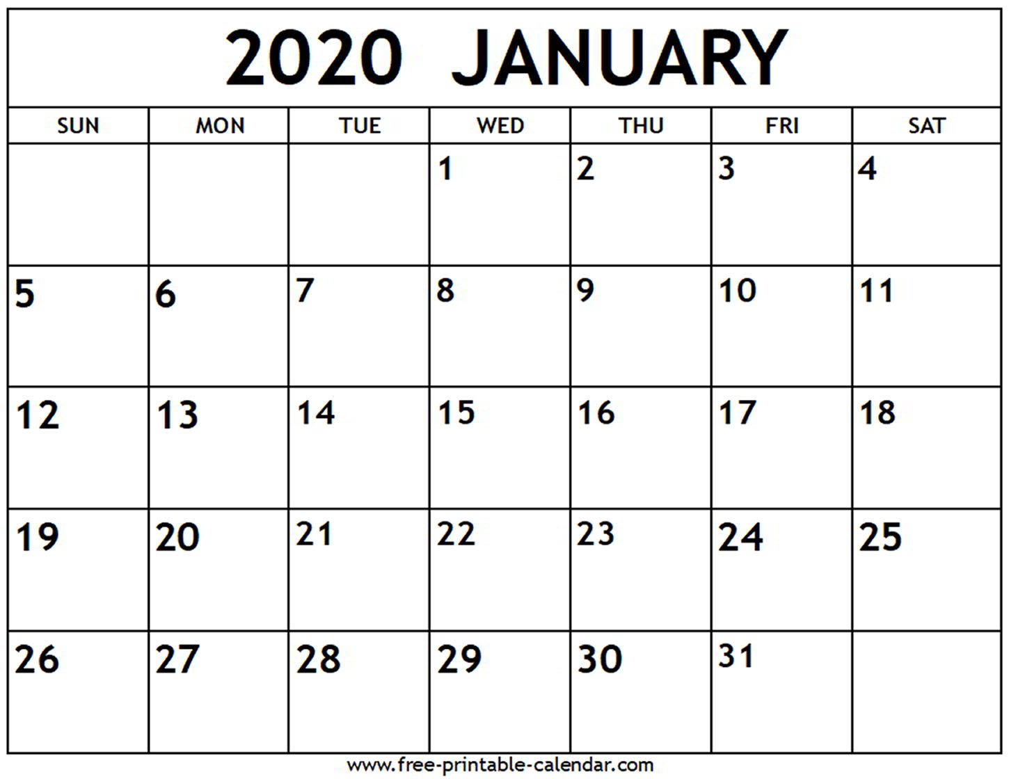 January 2020 Calendar - Free-Printable-Calendar in 2020 Calendars To Print Without Downloading