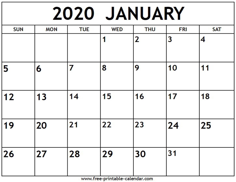 January 2020 Calendar - Free-Printable-Calendar throughout Free Printable 2020 Canadian Calendar