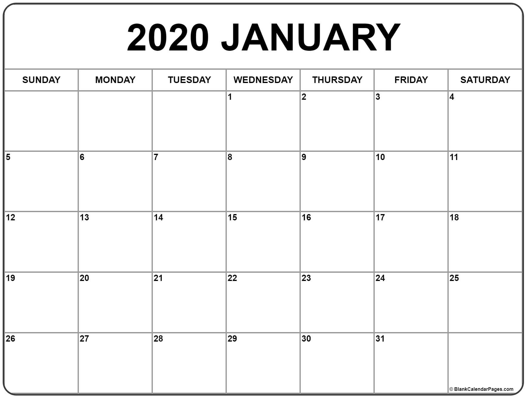 January 2020 Calendar | Free Printable Monthly Calendars in Print Free 2020 Monthly Calendars Without Downloading
