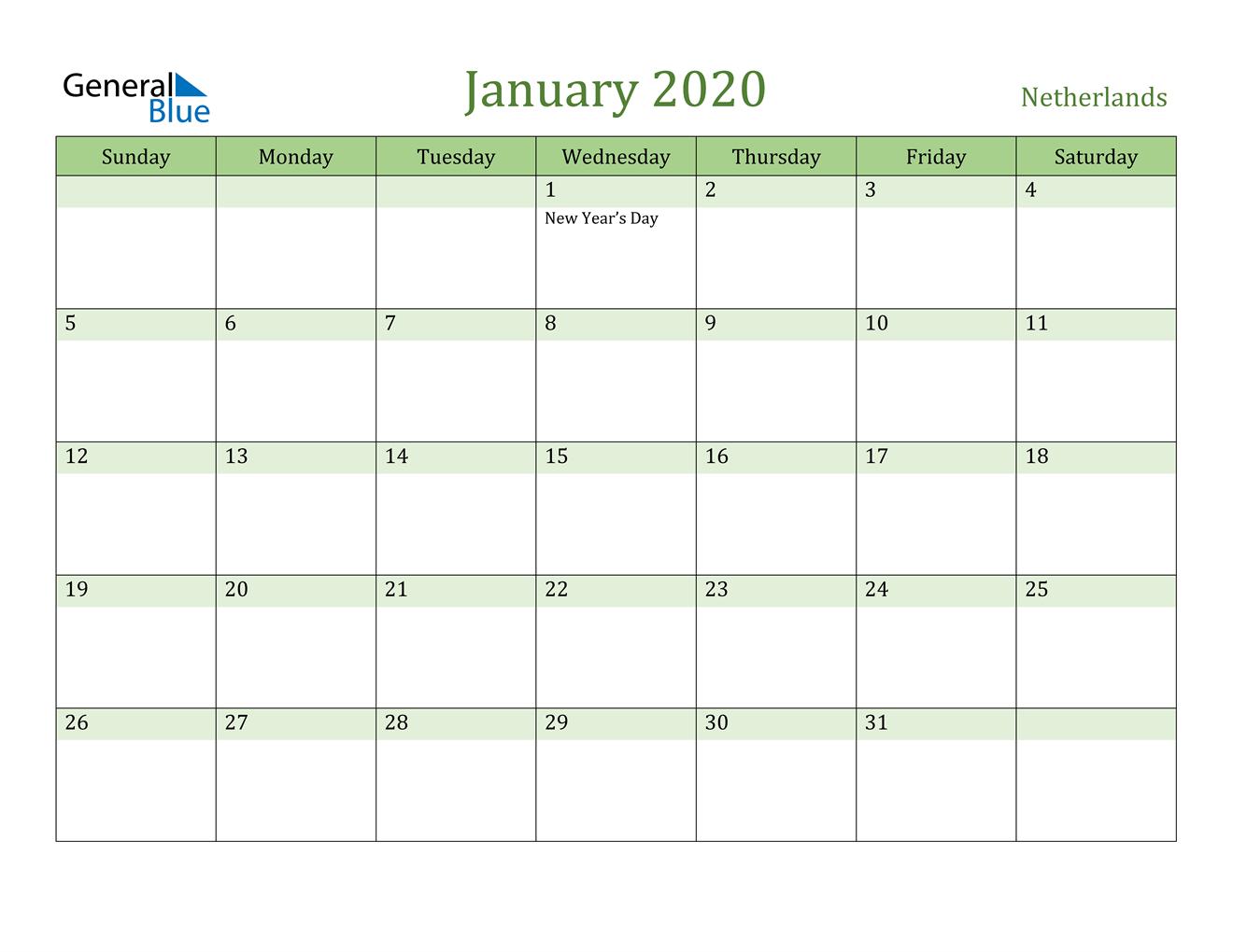January 2020 Calendar - Netherlands intended for Calendar 2020 Nl