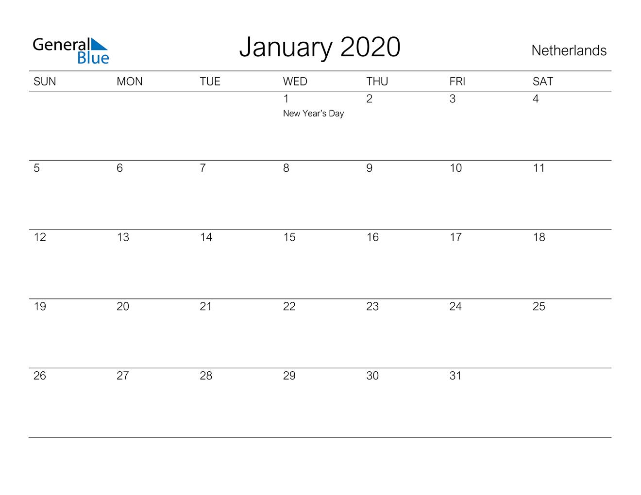 January 2020 Calendar - Netherlands pertaining to Calendar 2020 Nl