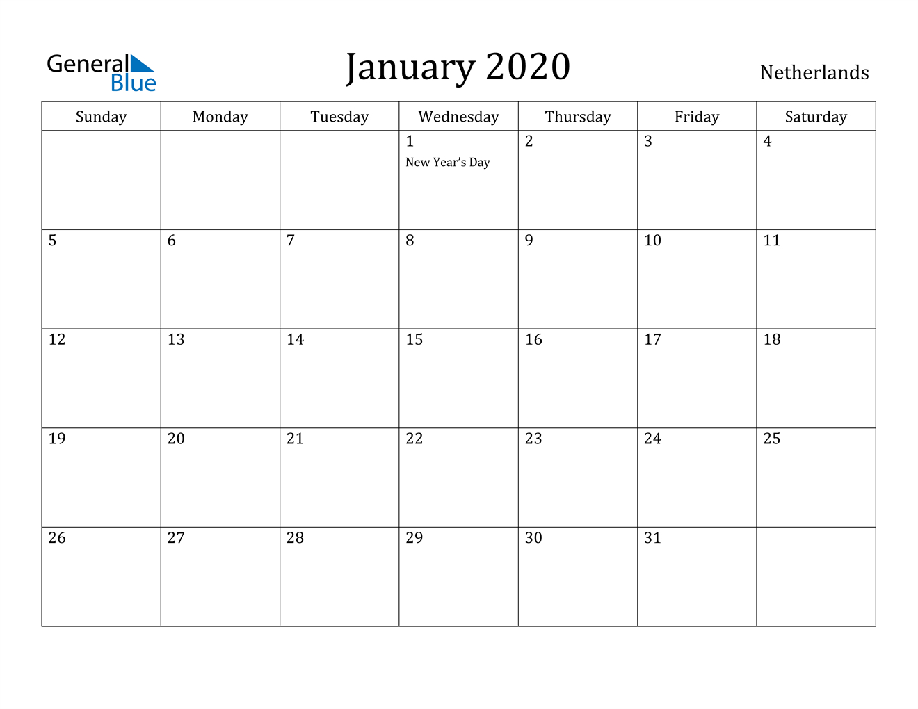 January 2020 Calendar - Netherlands within Calendar 2020 Nl