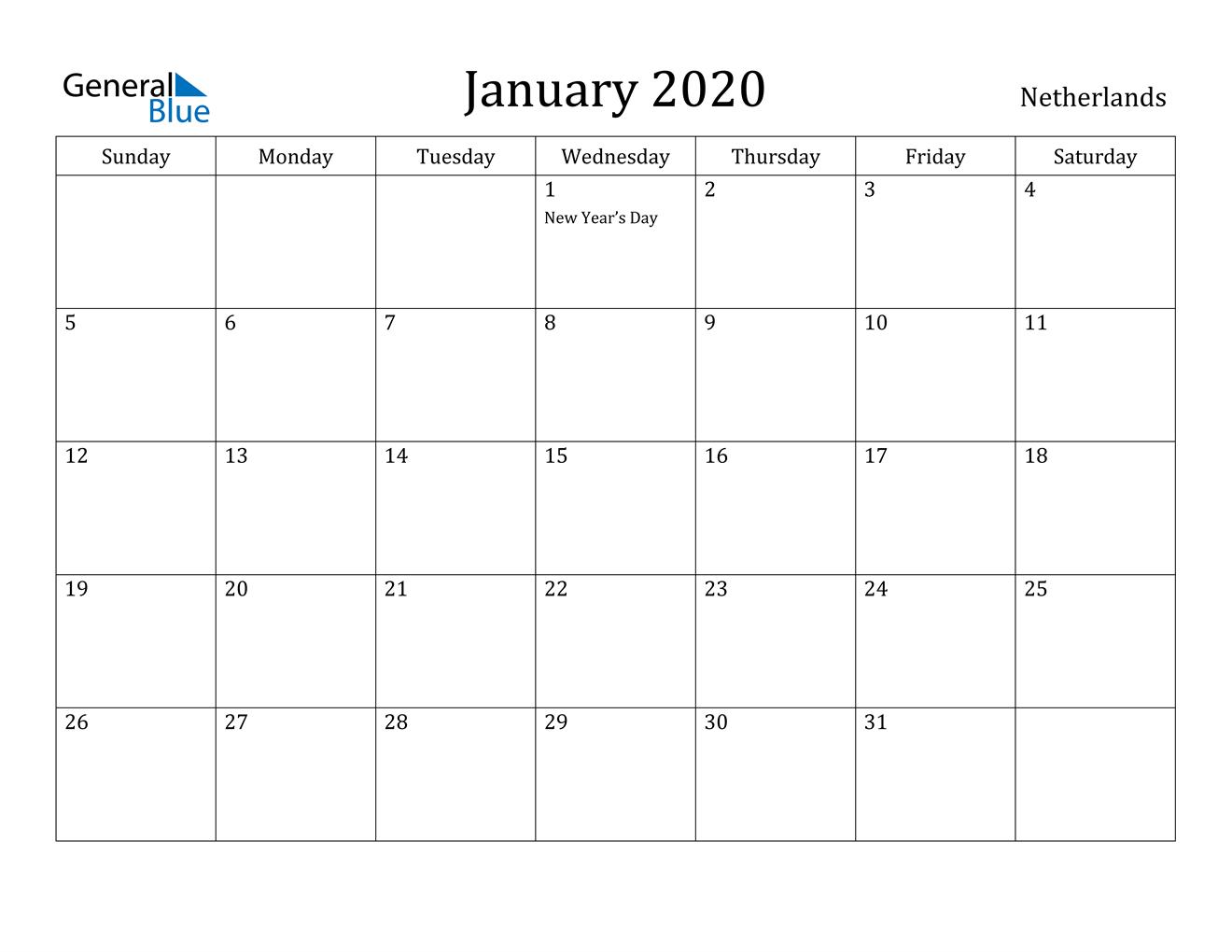January 2020 Calendar - Netherlands within Calendar 2020 Nl