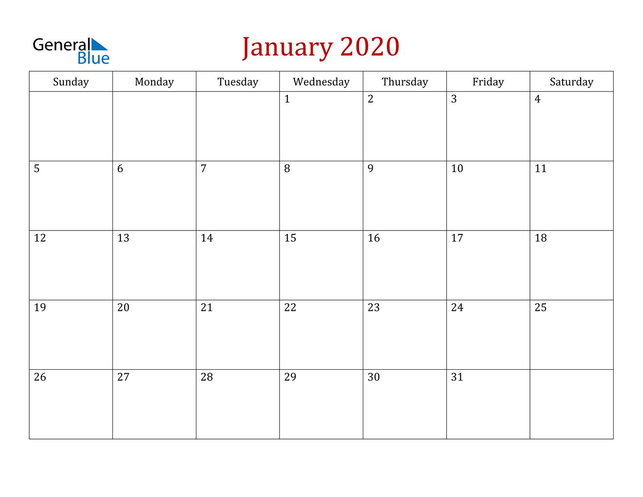 January 2020 Calendar - Pdf Word Excel for 2020 Etited Calendar