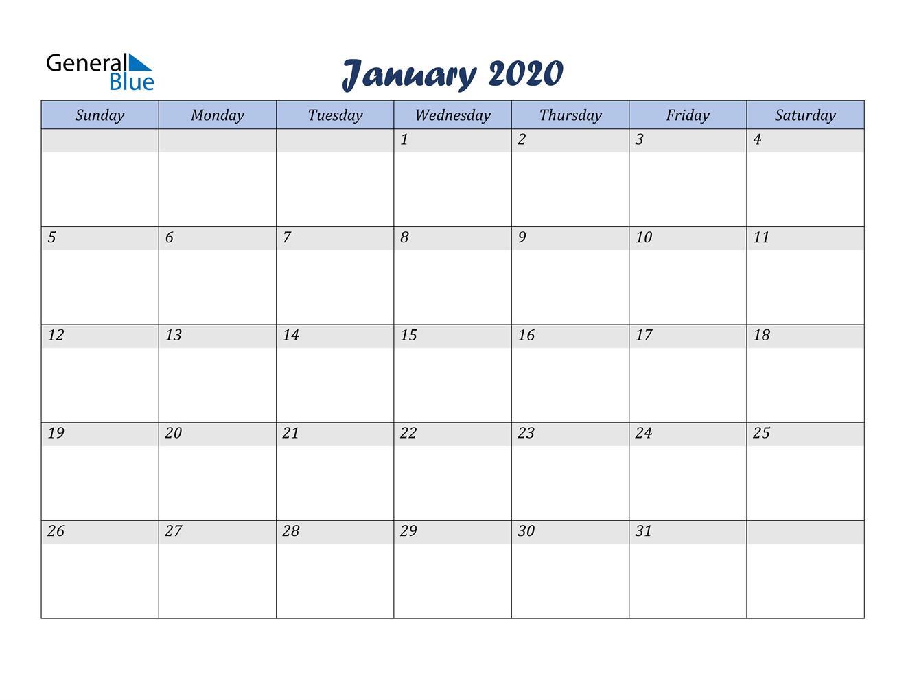 January 2020 Calendar - Pdf Word Excel with regard to 2020 Etited Calendar