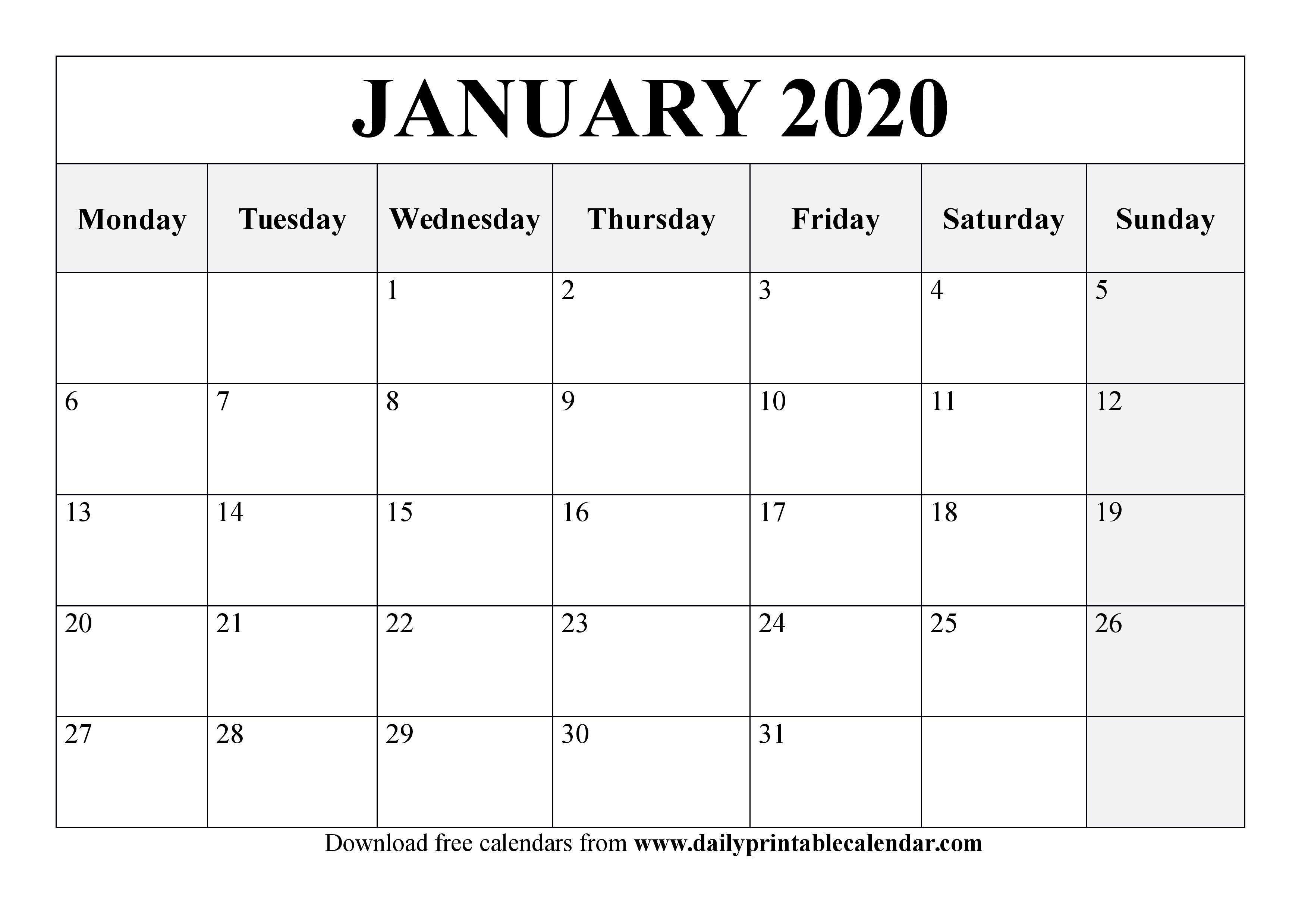 January 2020 Calendar Printable - Blank Templates - 2020 throughout 2020 Printable Calendars Beginning With Monday