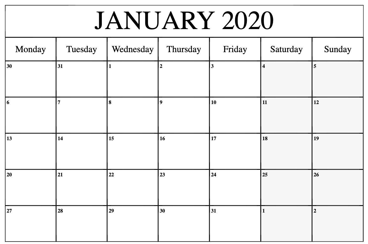January 2020 Calendar Printable Monday | Free Printable throughout 2020 Monday Through Sunday Calendar Template