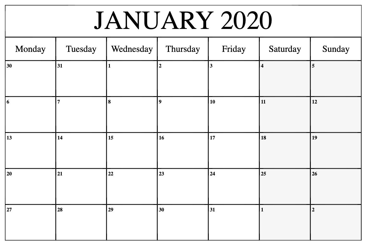 January 2020 Calendar Printable Template In Pdf Word Excel regarding January 2020 Calendar