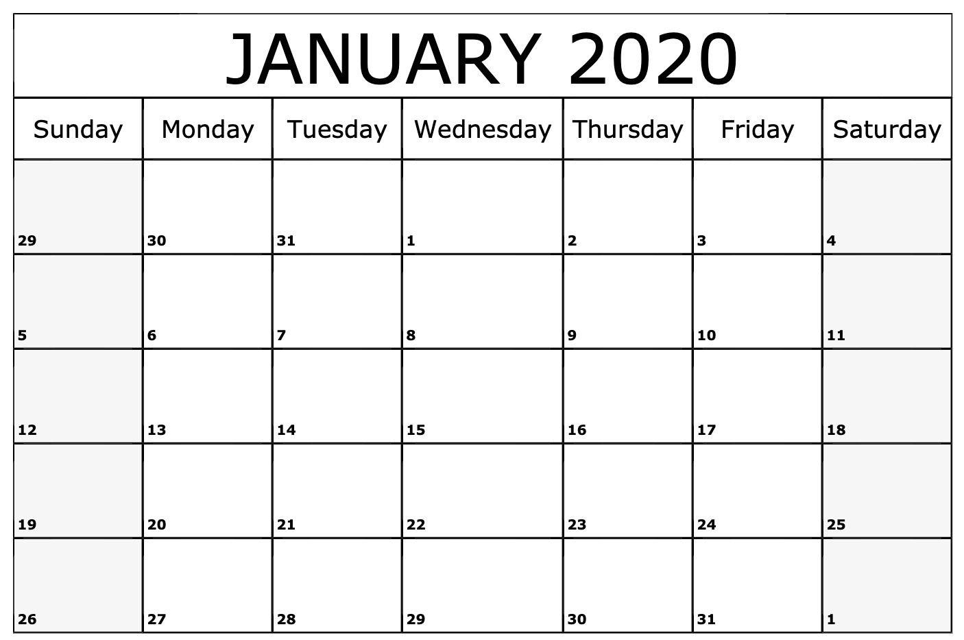 January 2020 Calendar Printable Template | Printable inside 2020 Printable Monthly Calendar Free Vertex