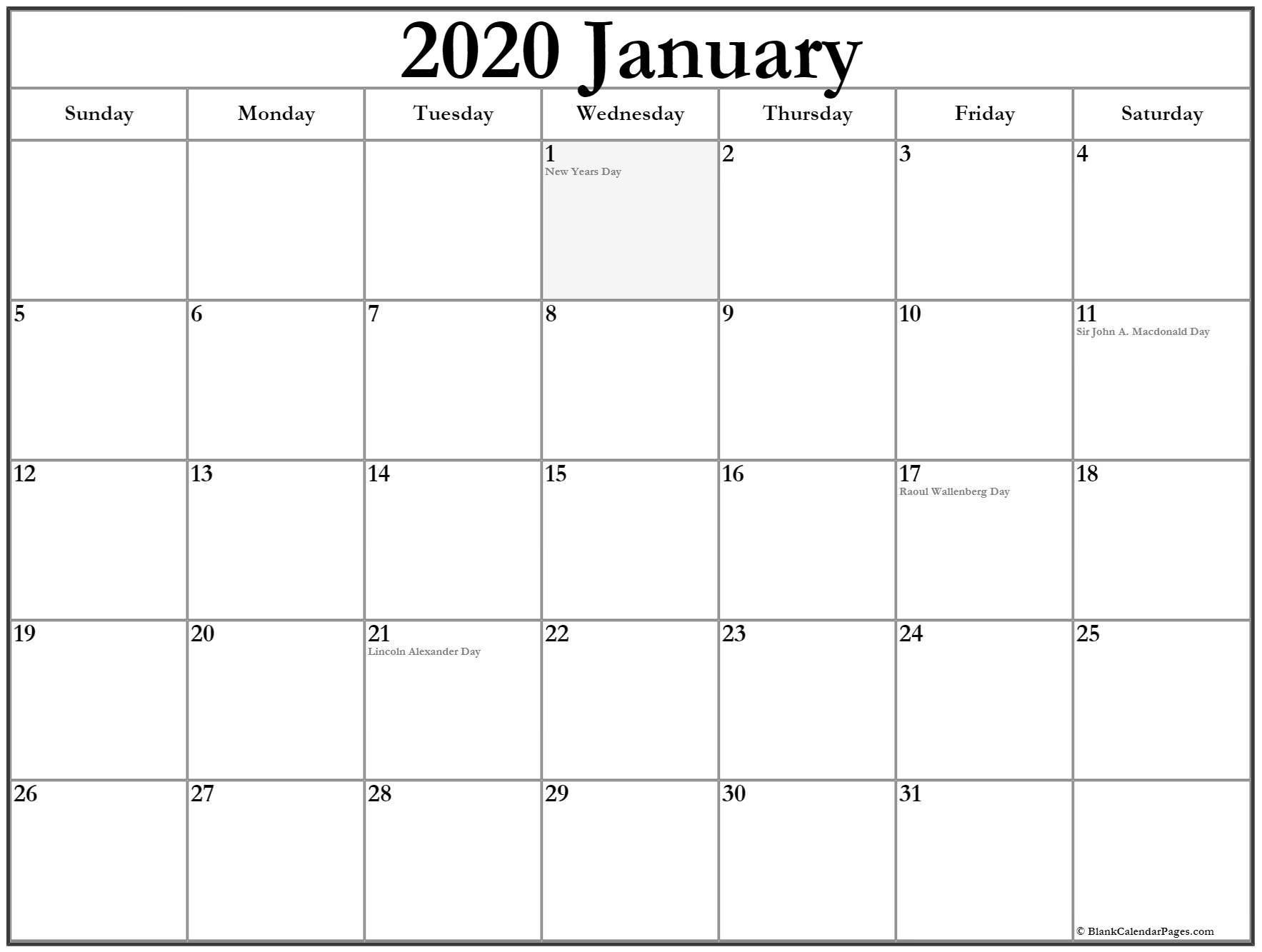 January 2020 Calendar With Holidays | Holiday Calendar in Free Printable 2020 Canadian Calendar