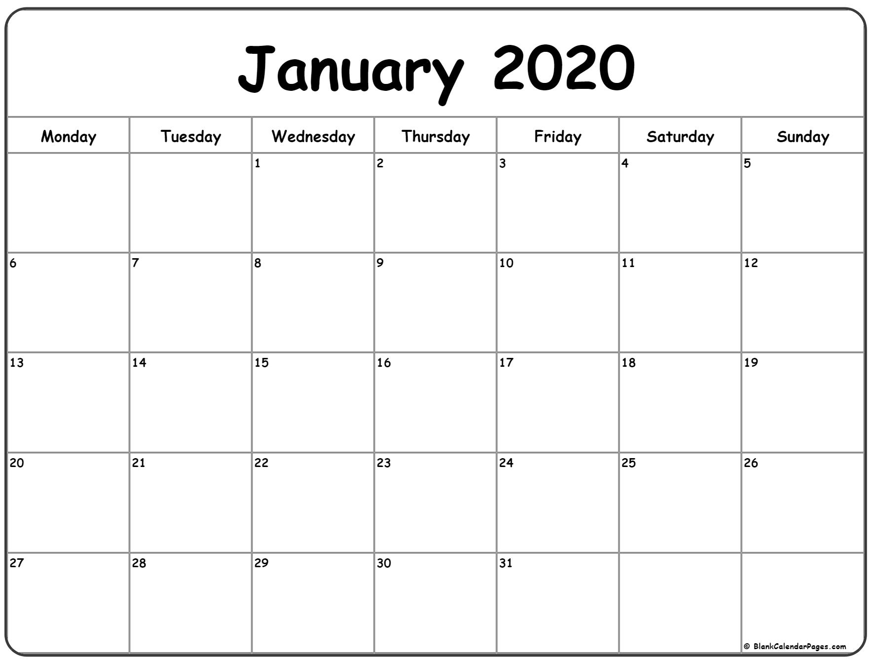 January 2020 Monday Calendar | Monday To Sunday for 2020 Printable Calendars Beginning With Monday