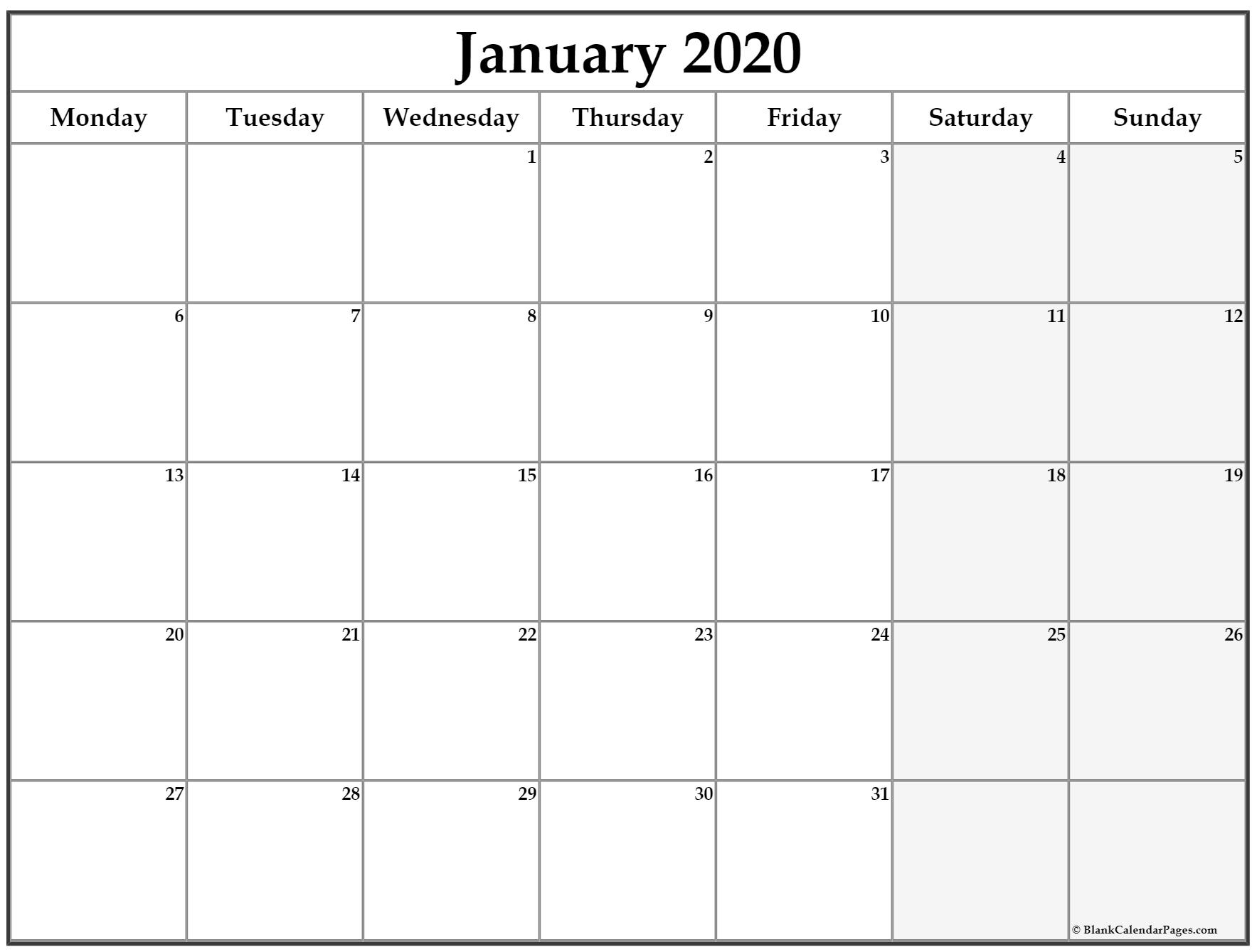 January 2020 Monday Calendar | Monday To Sunday with regard to 2020 Printable Calendars Beginning With Monday