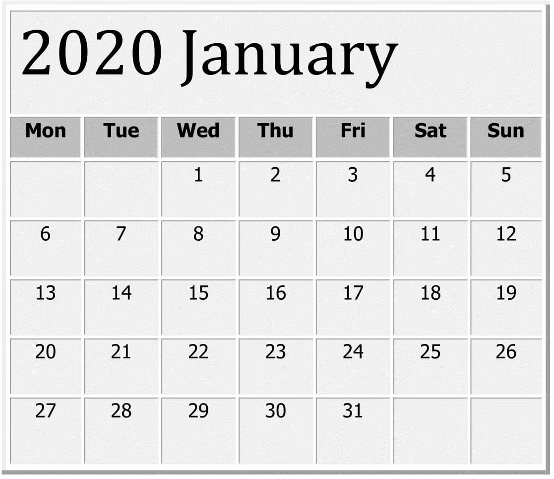 January 2020 Printable Calendar Large Print – Free Latest inside Large Numbers Free Printable Calendar 2020