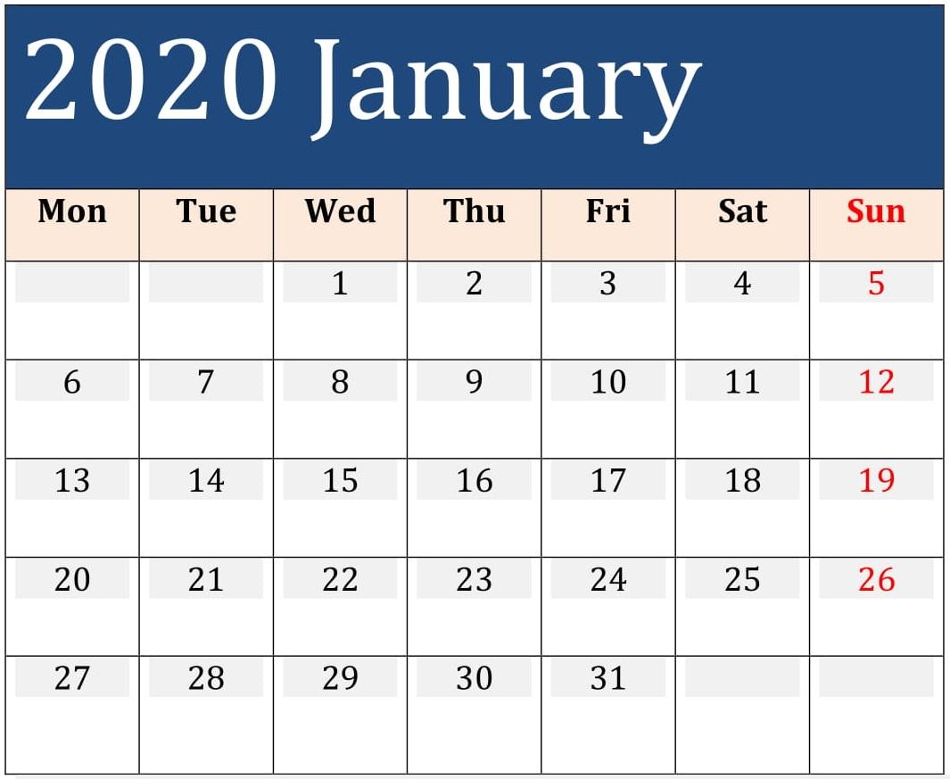 January 2020 Printable Calendar Large Print – Free Latest intended for Free Printable 2020 Calendars Large Numbers