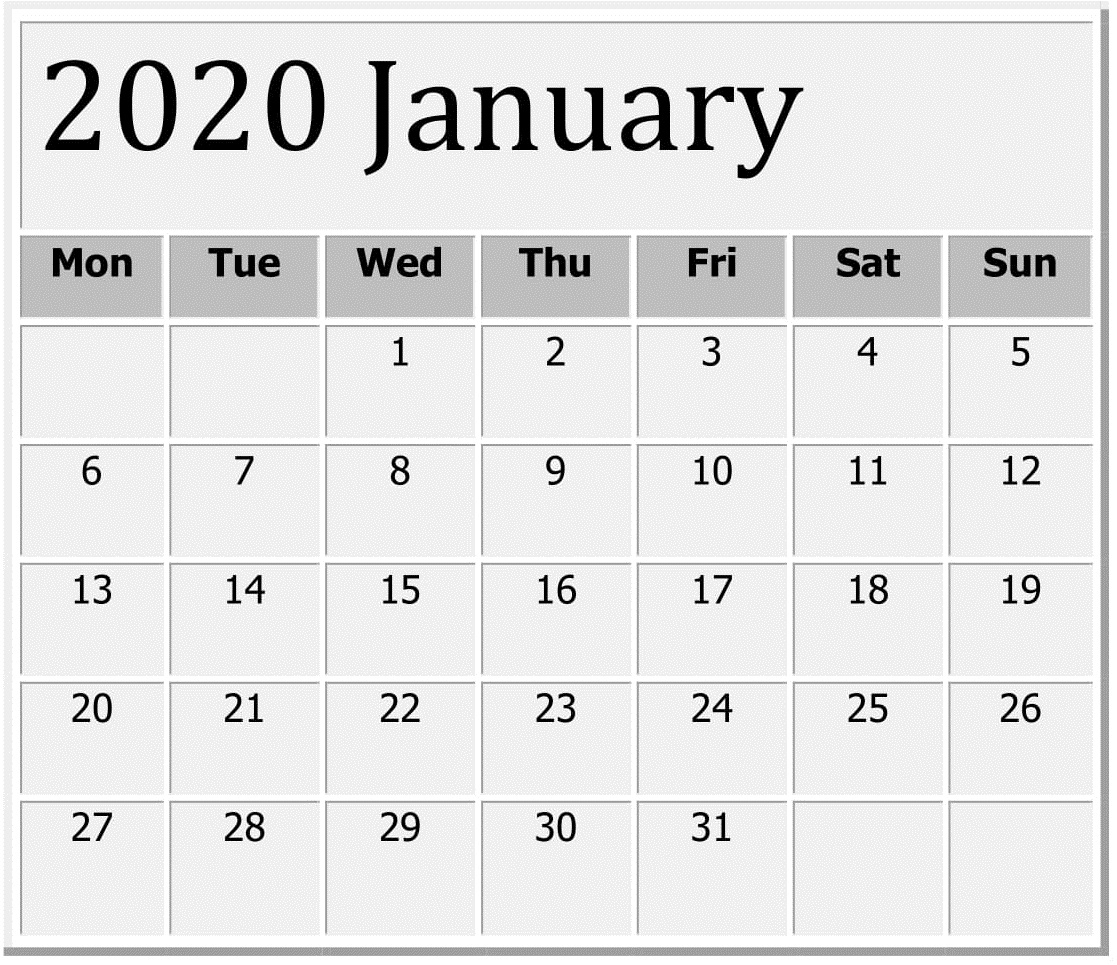 January 2020 Printable Calendar Large Print – Free Latest within Free Printable 2020 Calendars Large Numbers