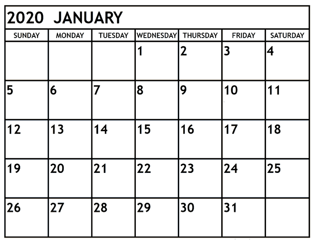 January 2020 Printable Calendar Monthly | 12 Month Printable throughout Large Numbers Free Printable Calendar 2020