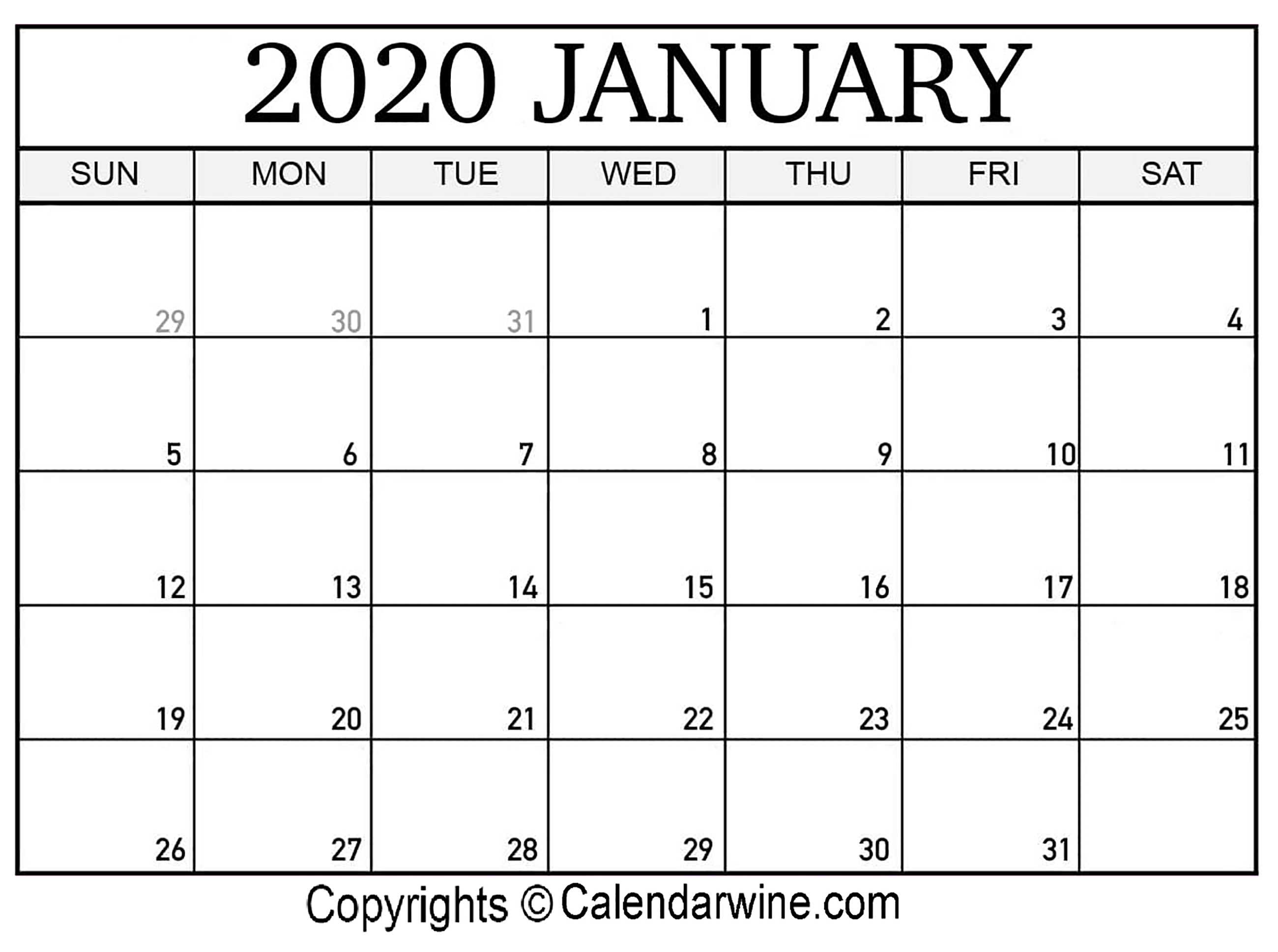January 2020 Printable Calendar Templates | Calendar Wine inside 2020 Calendars To Print Without Downloading