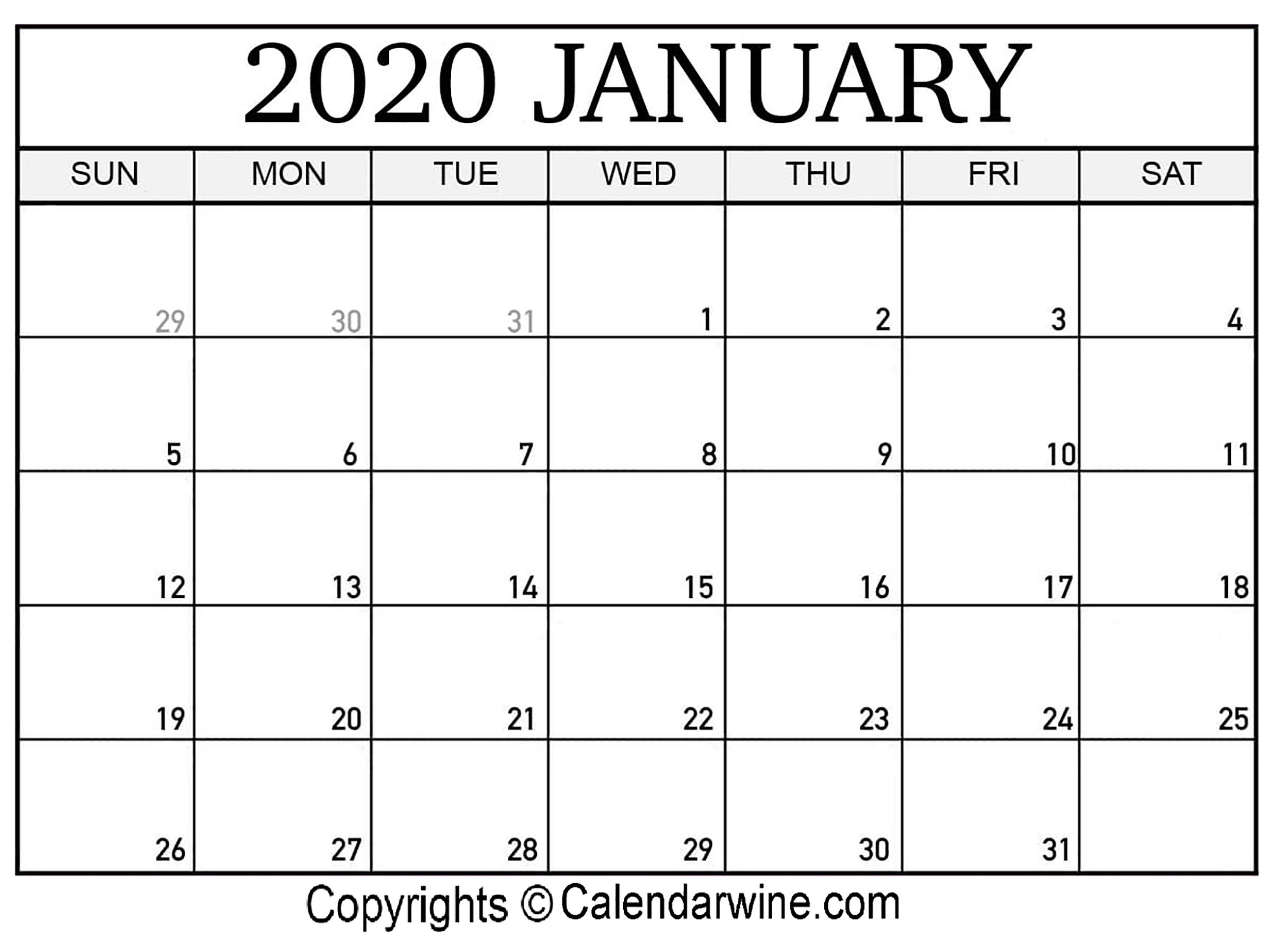 January 2020 Printable Calendar Templates | Calendar Wine inside January 2020 Calendar