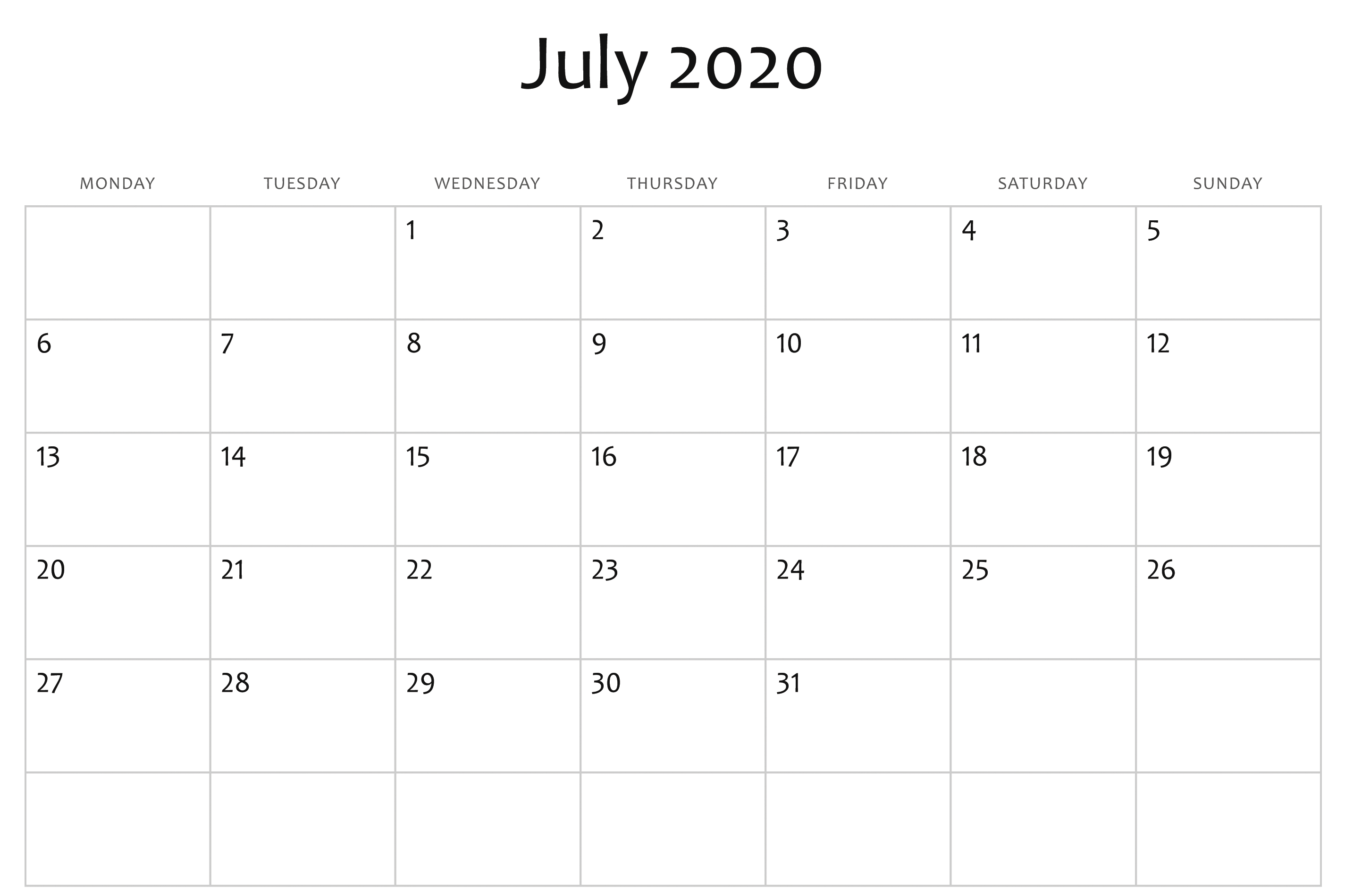 July 2020 Calendar Word | July Calendar, Free Printable regarding 2020 Calendar Template Word