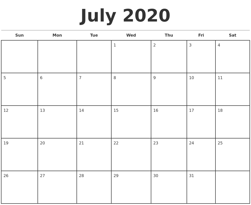July 2020 Monthly Calendar Template within 2020 Monthly Fill In Calendars