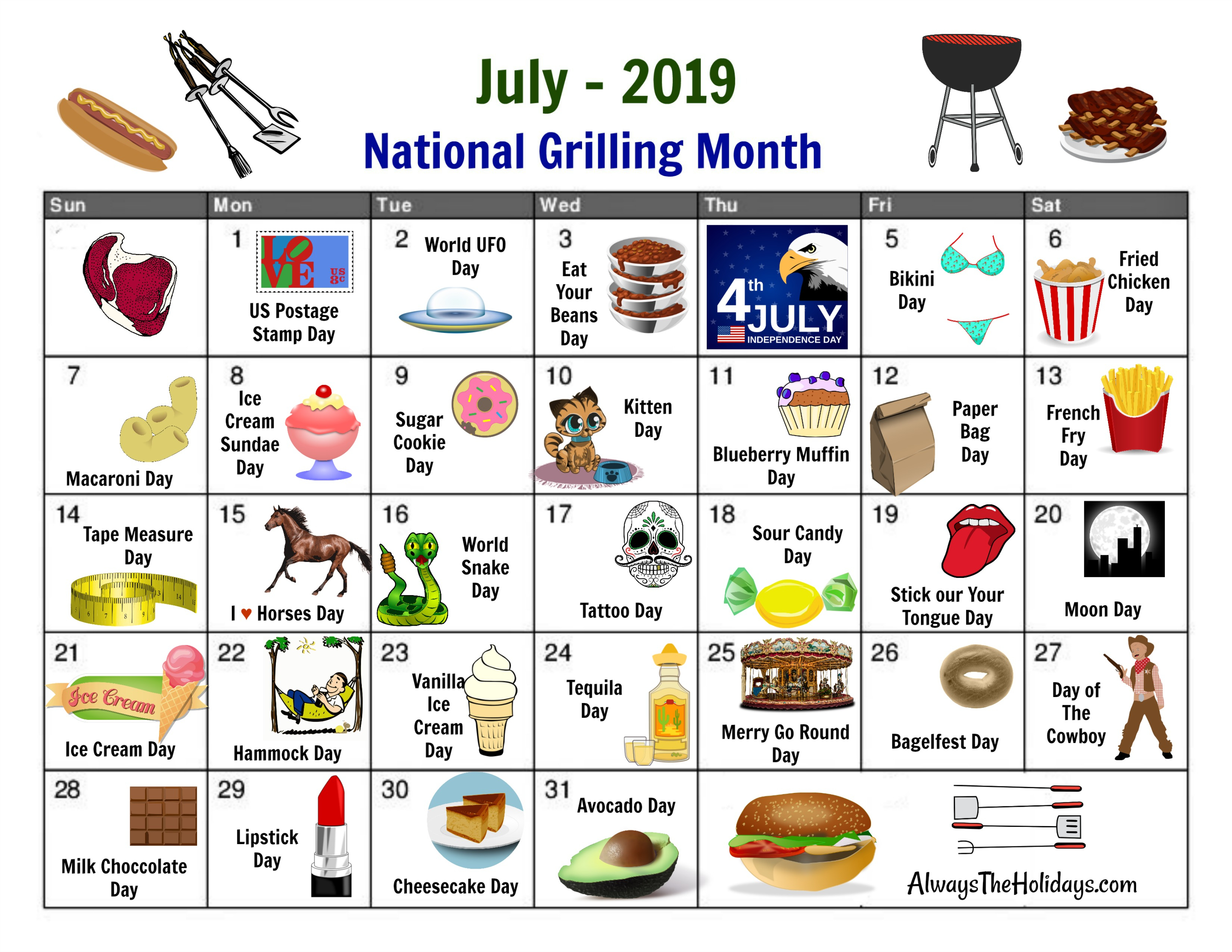 July National Day Calendar - Free Printable regarding National Food Day With Events Calender 2020 Free To Print Up