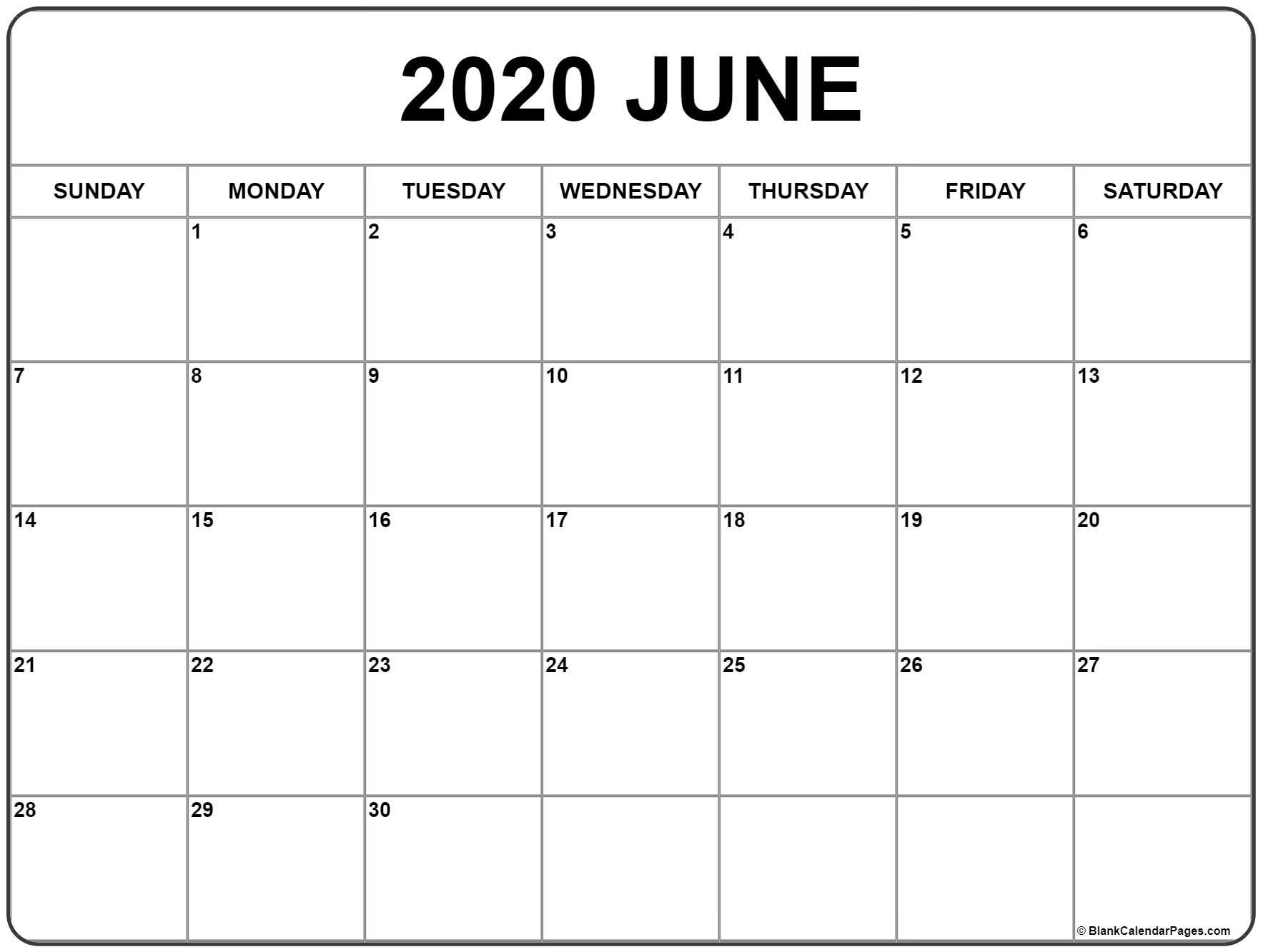 June 2020 Calendar | Free Printable Monthly Calendars intended for 2020 Printable Calendar - Sunday Thru Saturday