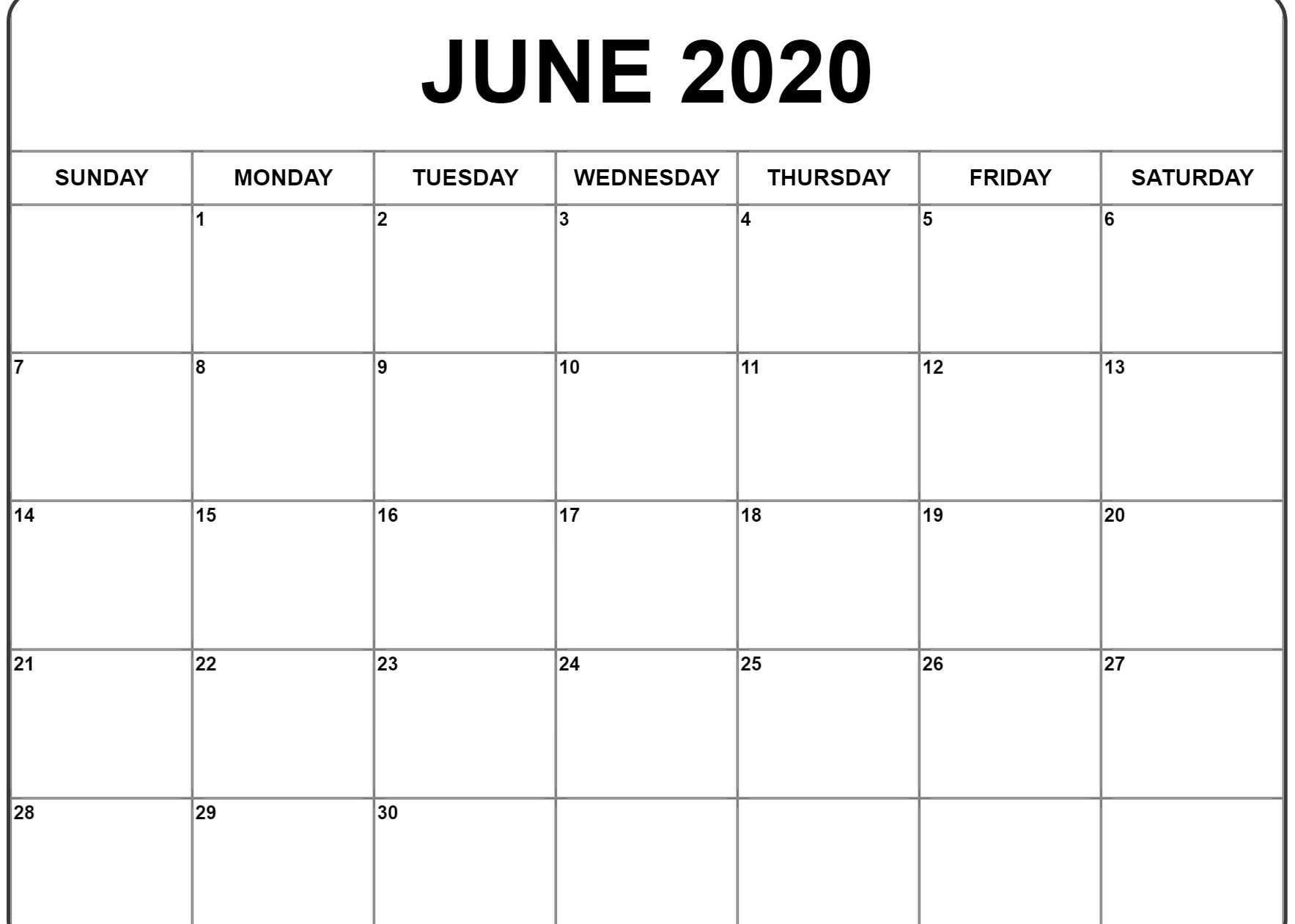 June 2020 Calendar | Printable Calendar Template, Monthly for 2020 Monday Through Sunday Calendar Template