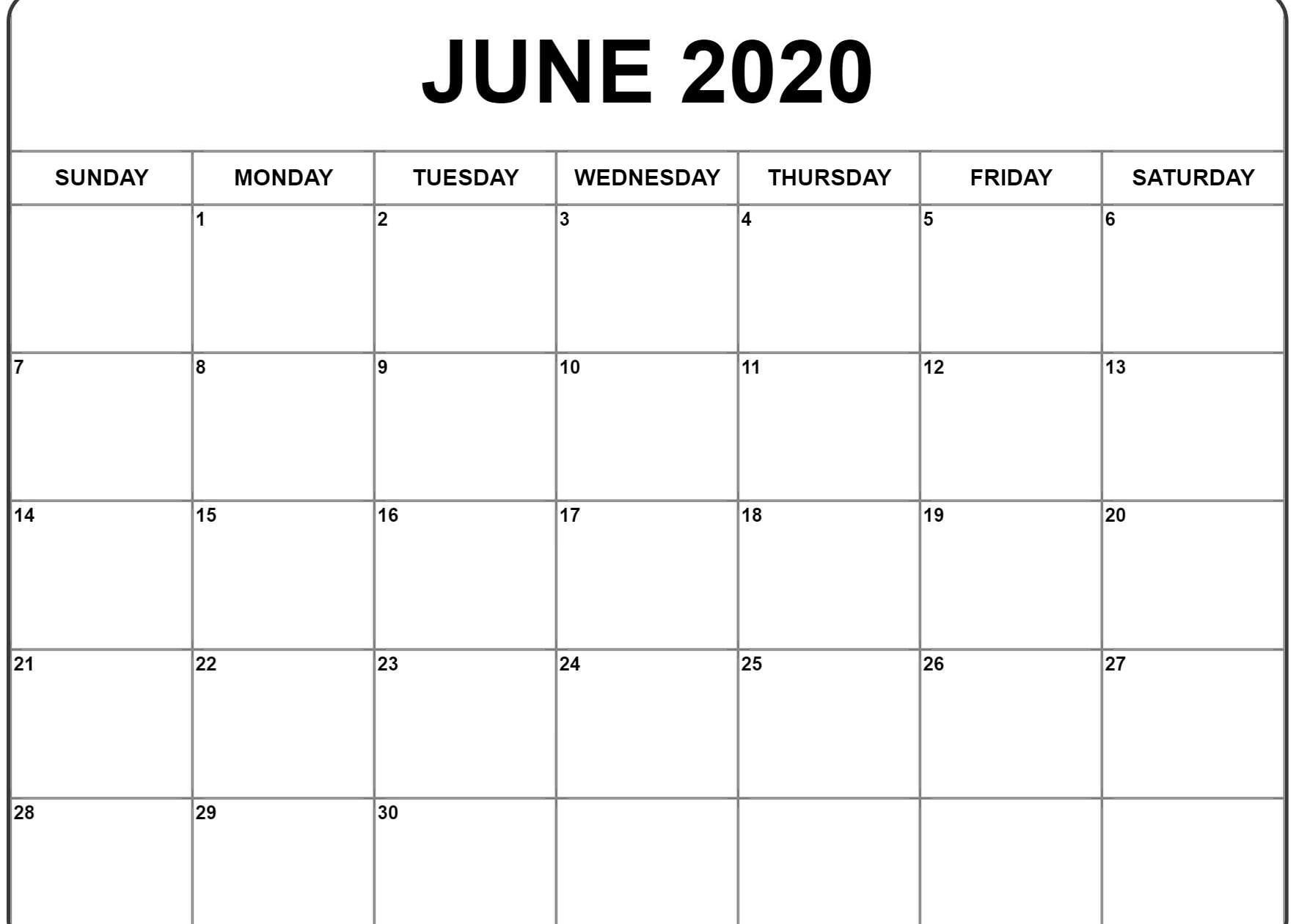 June 2020 Calendar | Printable Calendar Template, Monthly within Vertex 2020 Calendars Monday Through Sunday